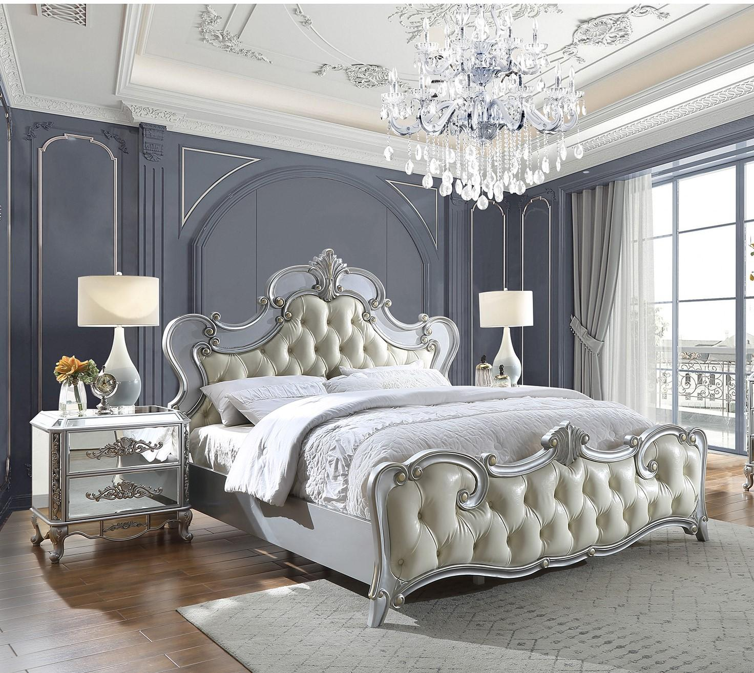 Traditional Silver, Antique Faux Leather and Wood Eastern King Panel Bedroom Set 3 pcs HD-6036 by Homey Design