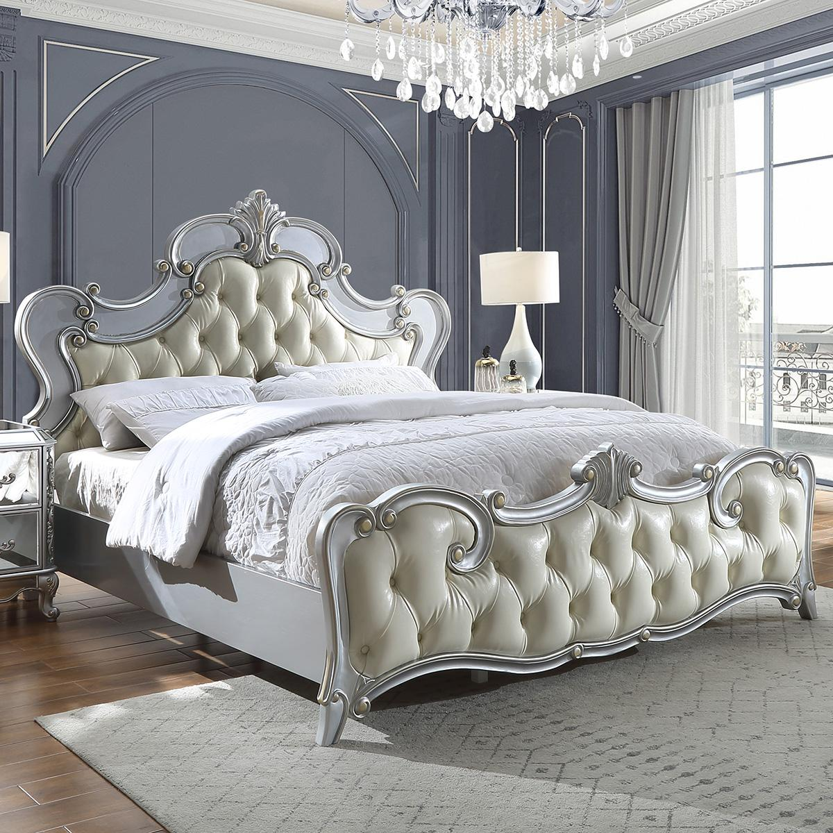 Traditional Silver, Antique Faux Leather and Wood California Panel Bed HD-6036 by Homey Design