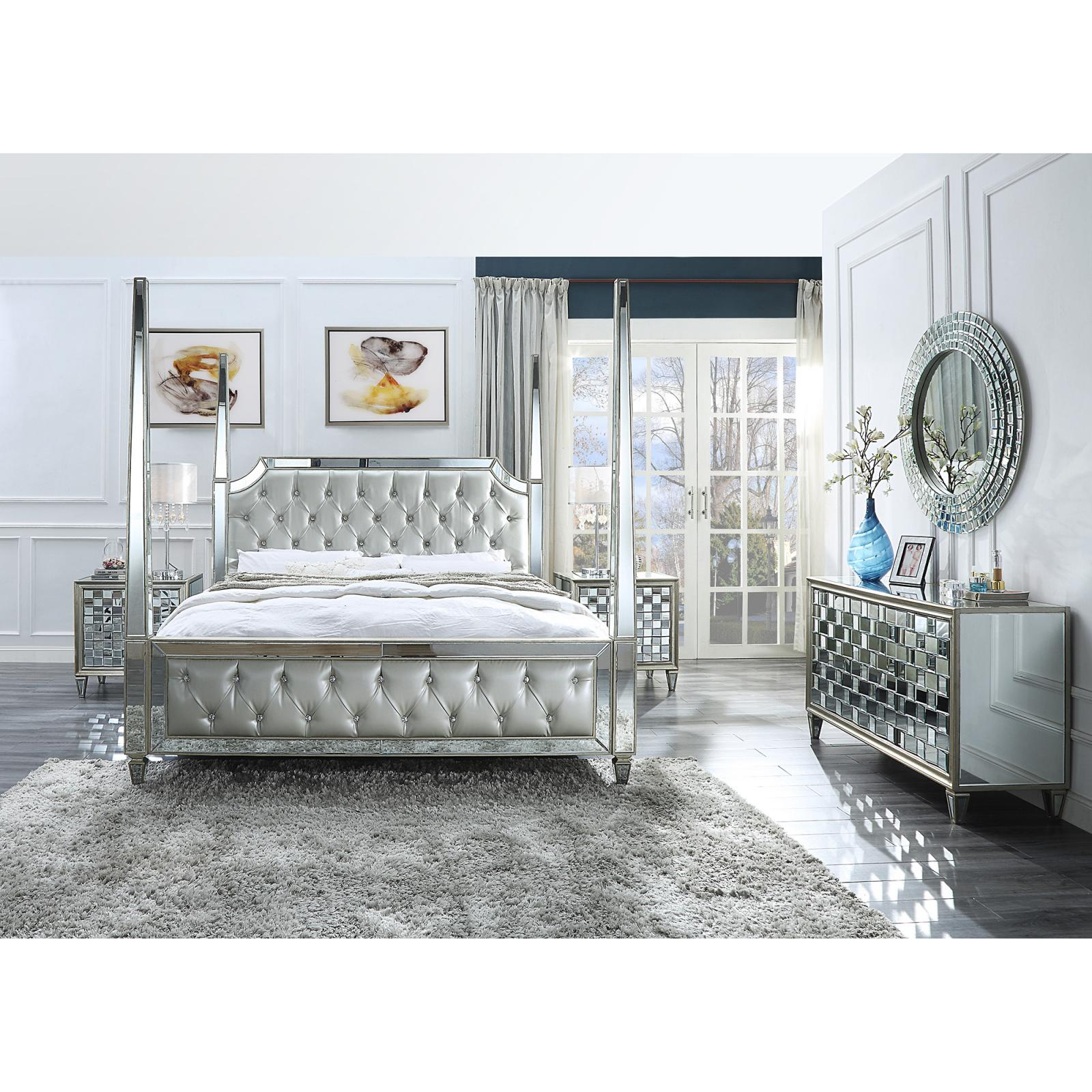 Modern Silver, Mirrored Faux Leather and Metal, Faux Leather Canopy King Bedroom Set 5 pcs HD-6001 by Homey Design