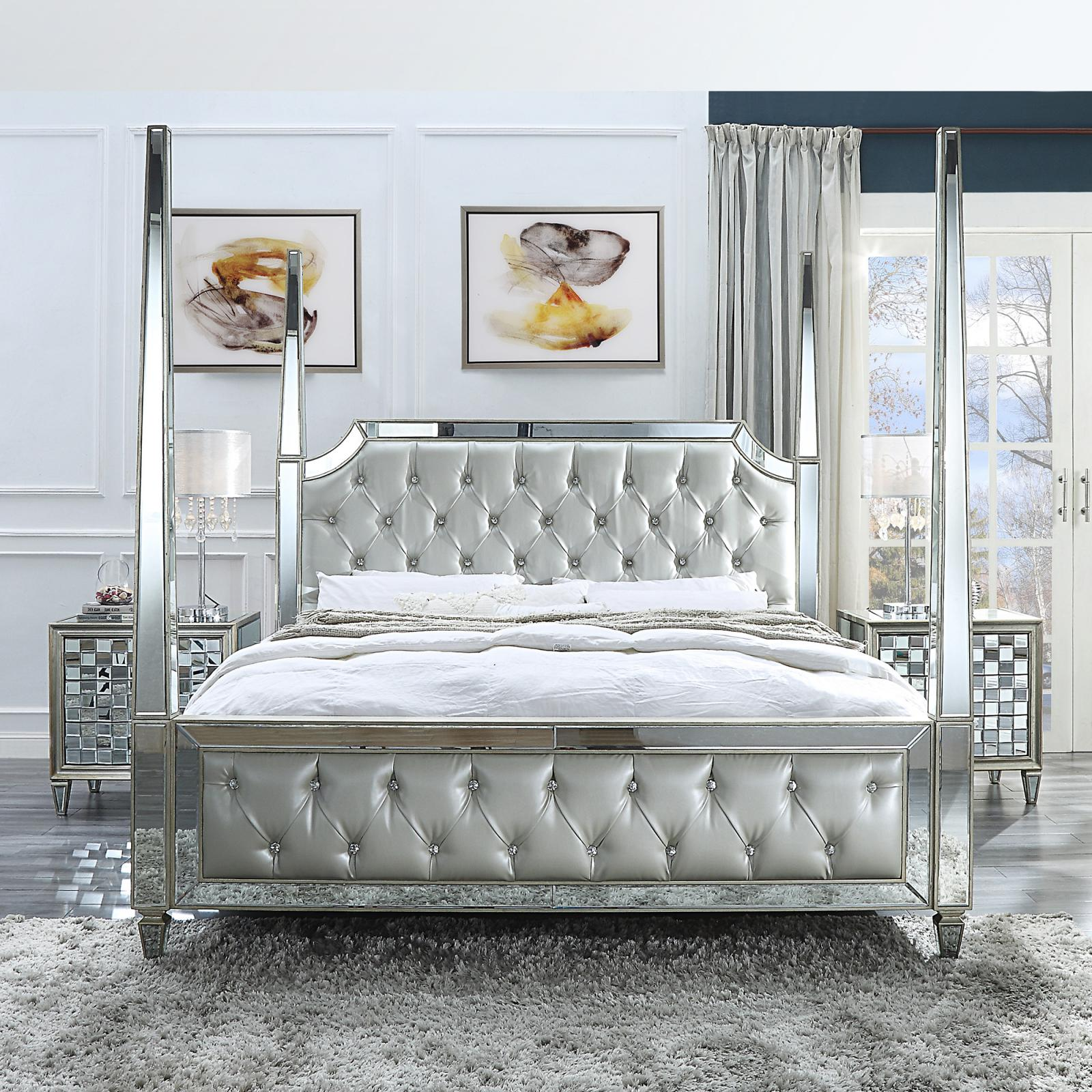 Modern Silver, Mirrored Faux Leather and Metal, Faux Leather Canopy King Bedroom Set 3 pcs HD-6001 by Homey Design