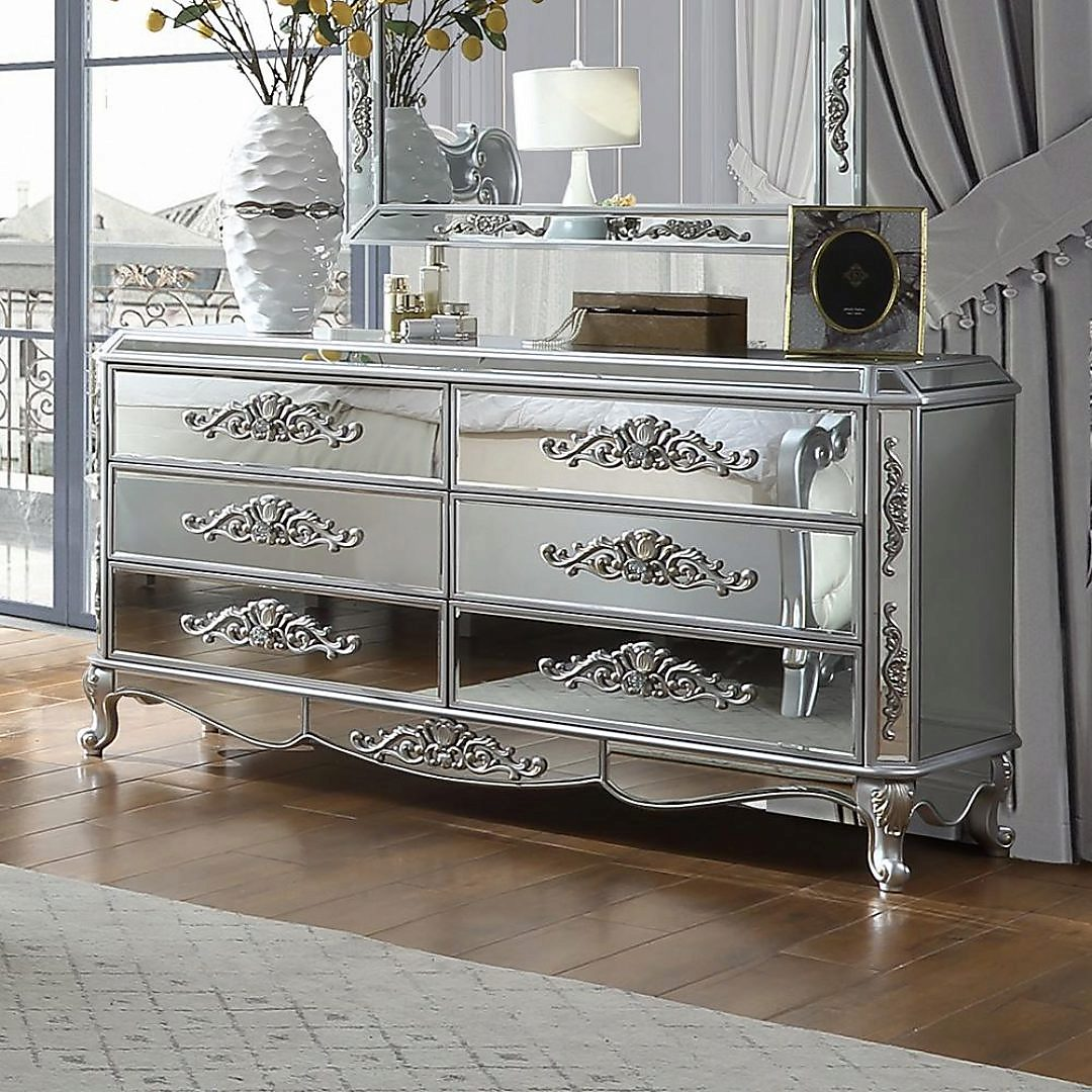 Traditional Silver, Antique Faux Leather and Wood Dresser 1 pcs HD-6036 by Homey Design