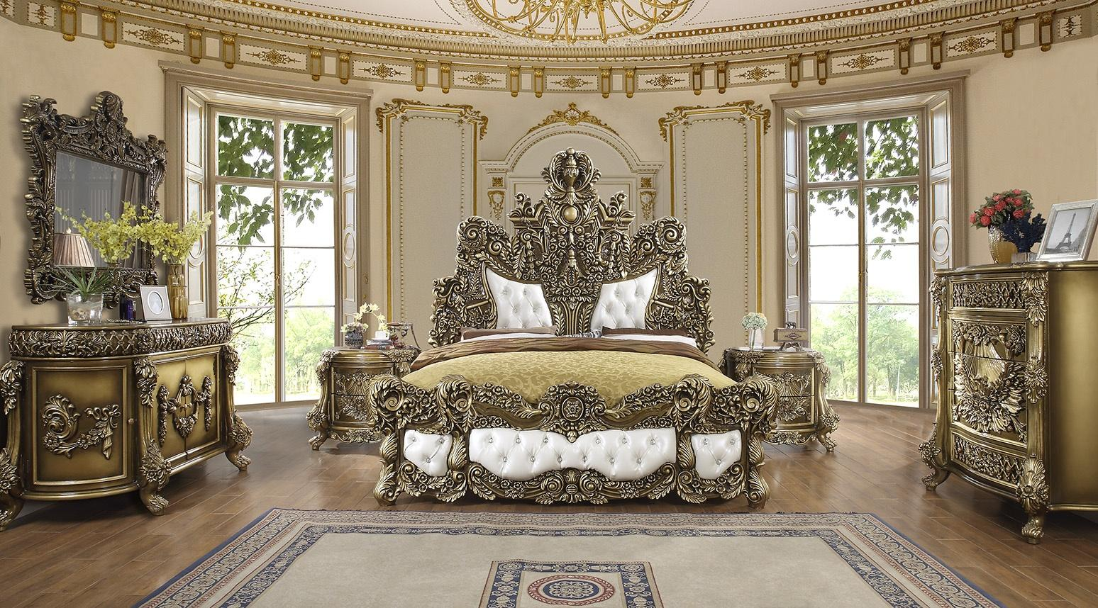 Traditional Brown, Gold Leather and Wood, Solid Hardwood King Platform Bedroom Set 5 pcs HD-1802 by Homey Design