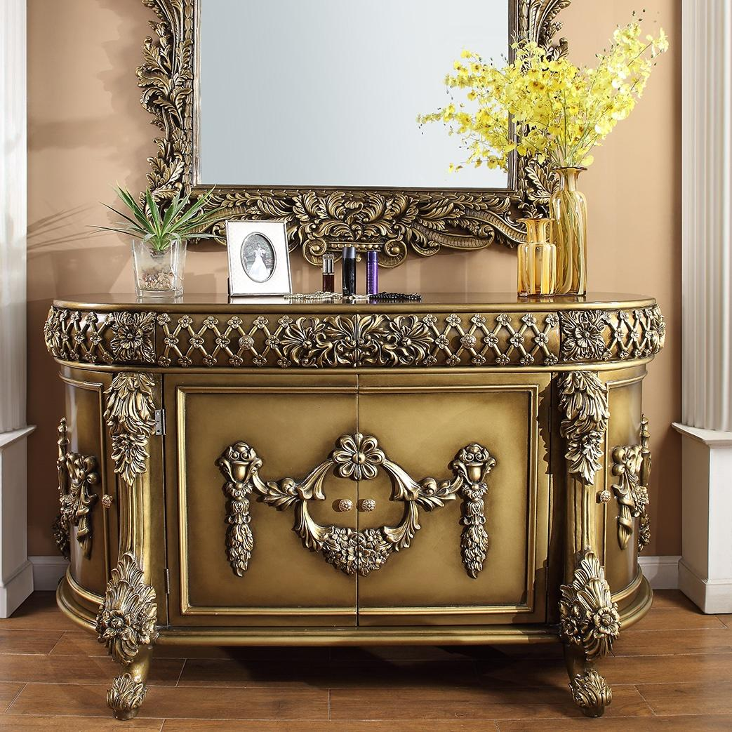 Traditional Brown, Gold  and Wood, Solid Hardwood Dresser 1 pcs HD-1802 by Homey Design