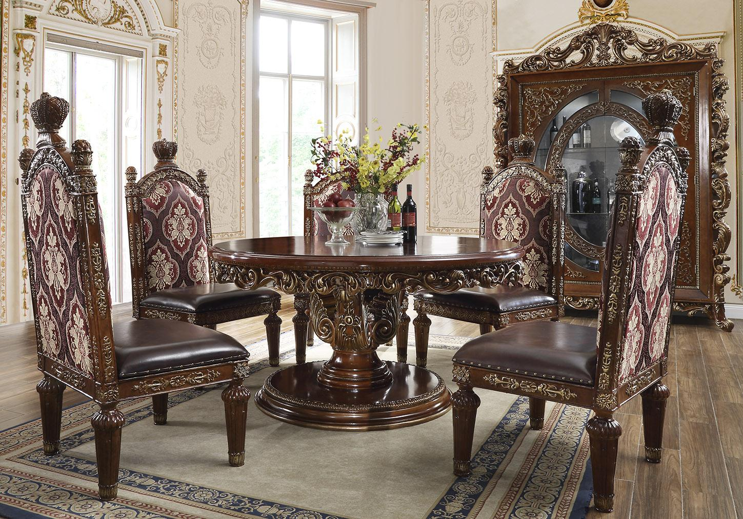 Traditional Gold, Metallic Leather and Fabric, Faux Leather, Solid Hardwood Dining Table Set 6 pcs HD-1804 by Homey Design