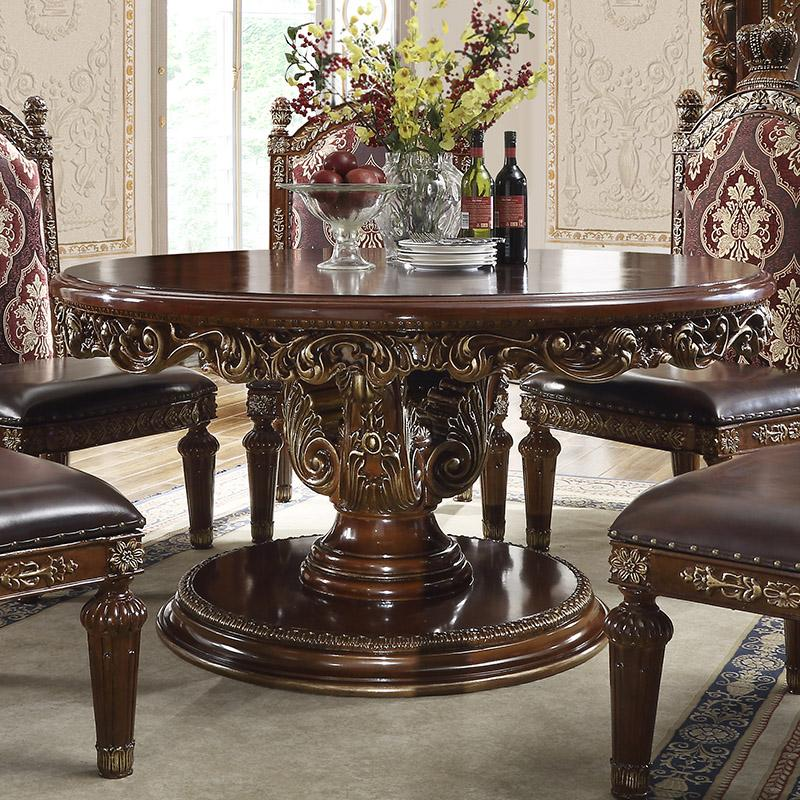 Traditional Gold, Metallic  and Fabric, Faux Leather, Solid Hardwood Dining Table 1 pcs HD-1804 by Homey Design