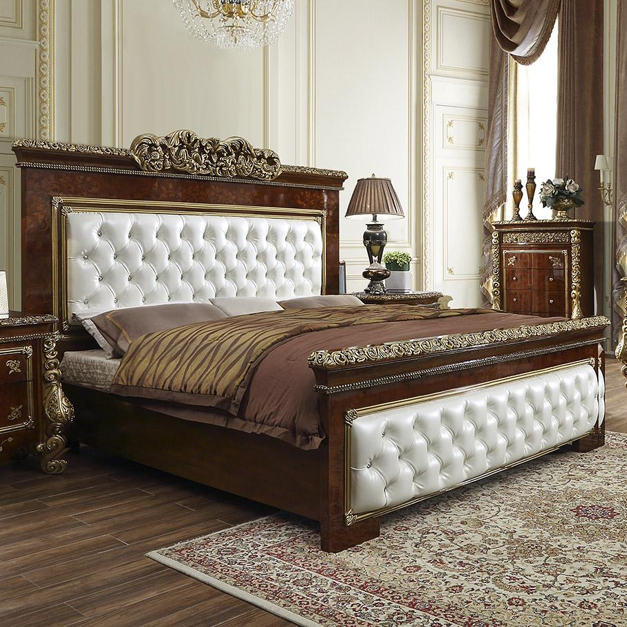 Traditional Brown, Gold Leather and Wood King Panel Bed HD-1803 by Homey Design
