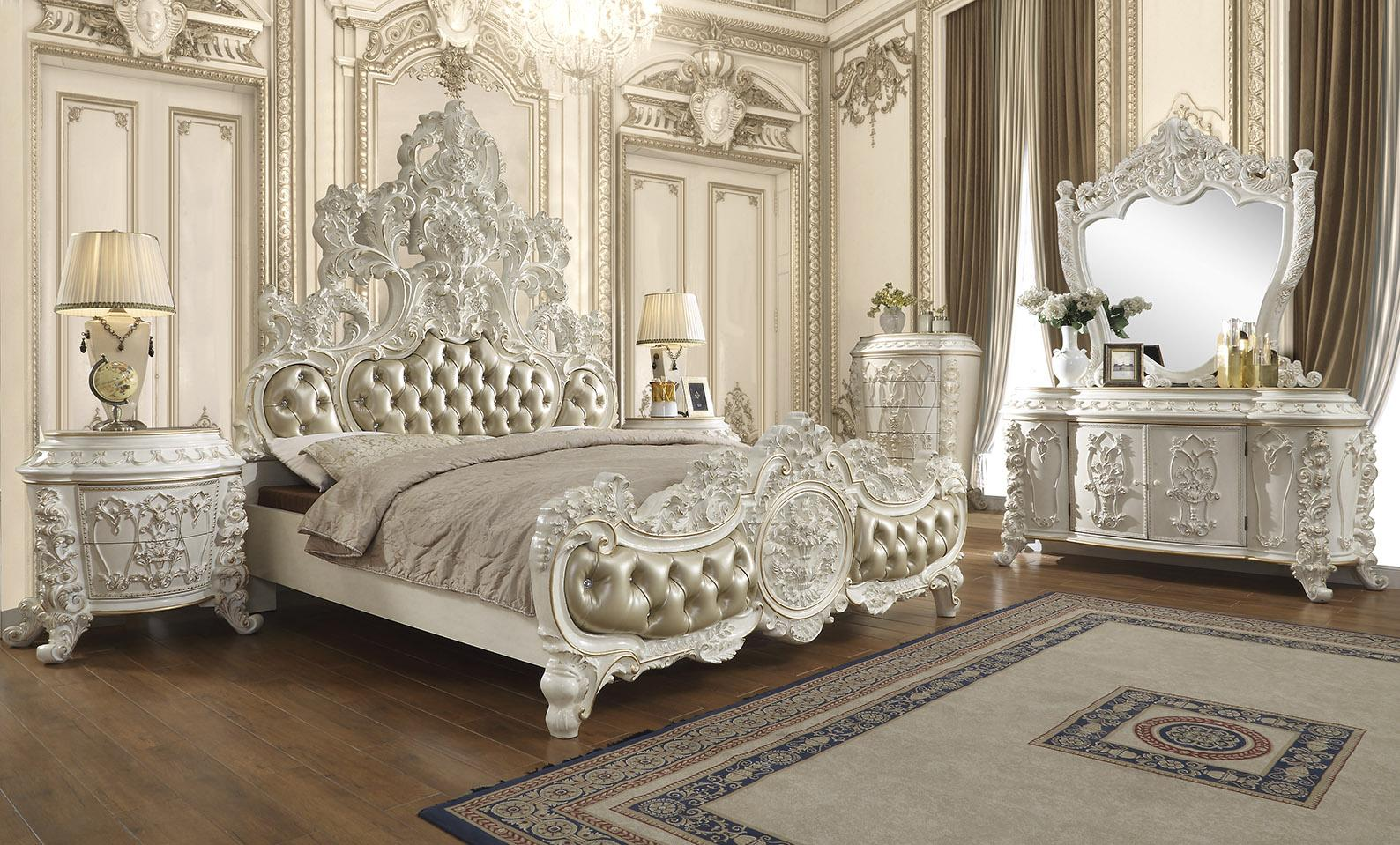 Traditional Gold, White Faux Leather and Wood, Solid Hardwood Sleigh California King Bedroom Set 5 pcs HD-1806 by Homey Design