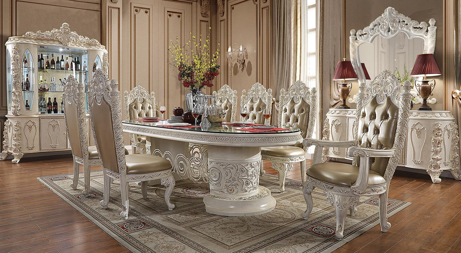 Traditional Gold, Antique White Leather and Wood Dining Table Set 9 pcs HD-1806 by Homey Design
