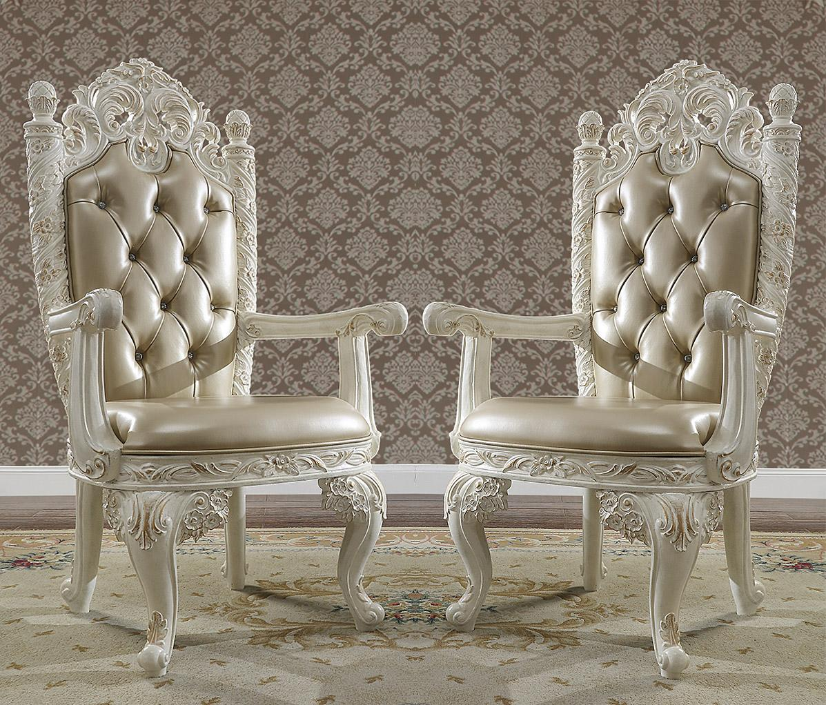 Traditional Gold, Antique White Leather and Wood Arm Chairs 2 pcs HD-1806 by Homey Design