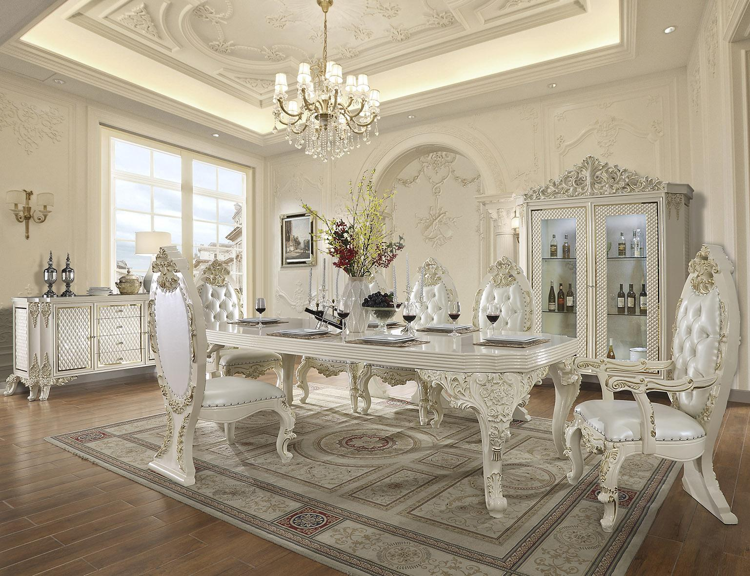 Traditional Gold, Antique White Leather and Wood Dining Table Set 9 pcs HD-8091 by Homey Design