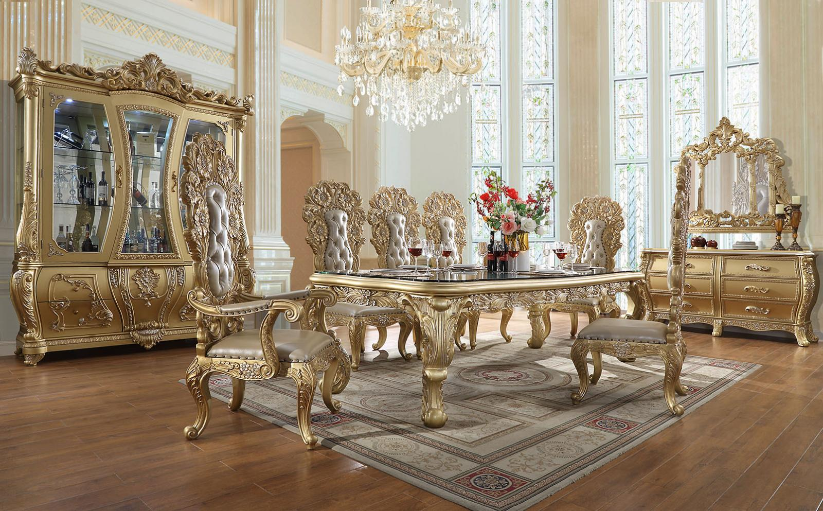 Traditional Gold, Metallic Leather and Wood Dining Table Set 9 pcs HD-1801 by Homey Design