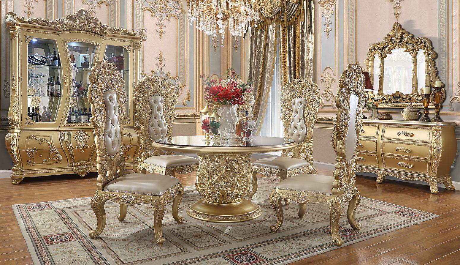 Traditional Gold, Metallic Leather and Wood Dining Table Set 5 pcs HD-1801 by Homey Design