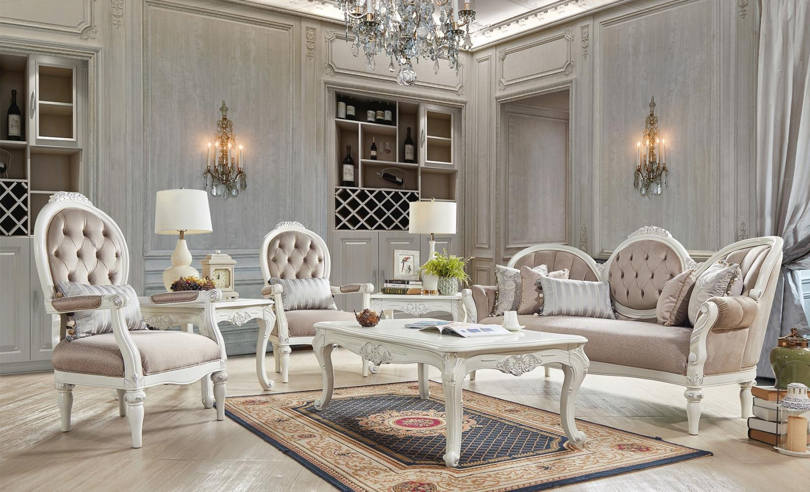 Traditional Beige, Ivory Fabric and Fabric, Wood Sofa and 2 Chairs 3 pcs HD-2672 by Homey Design