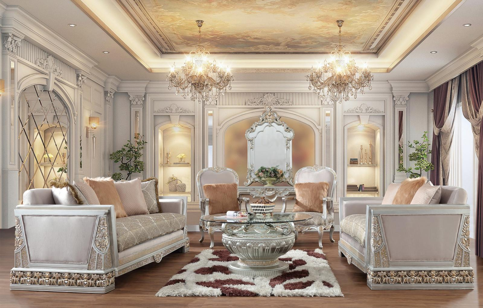 Traditional Silver Fabric and Fabric, Wood Sofa Loveseat and Chair Set 3 pcs HD-6034 by Homey Design