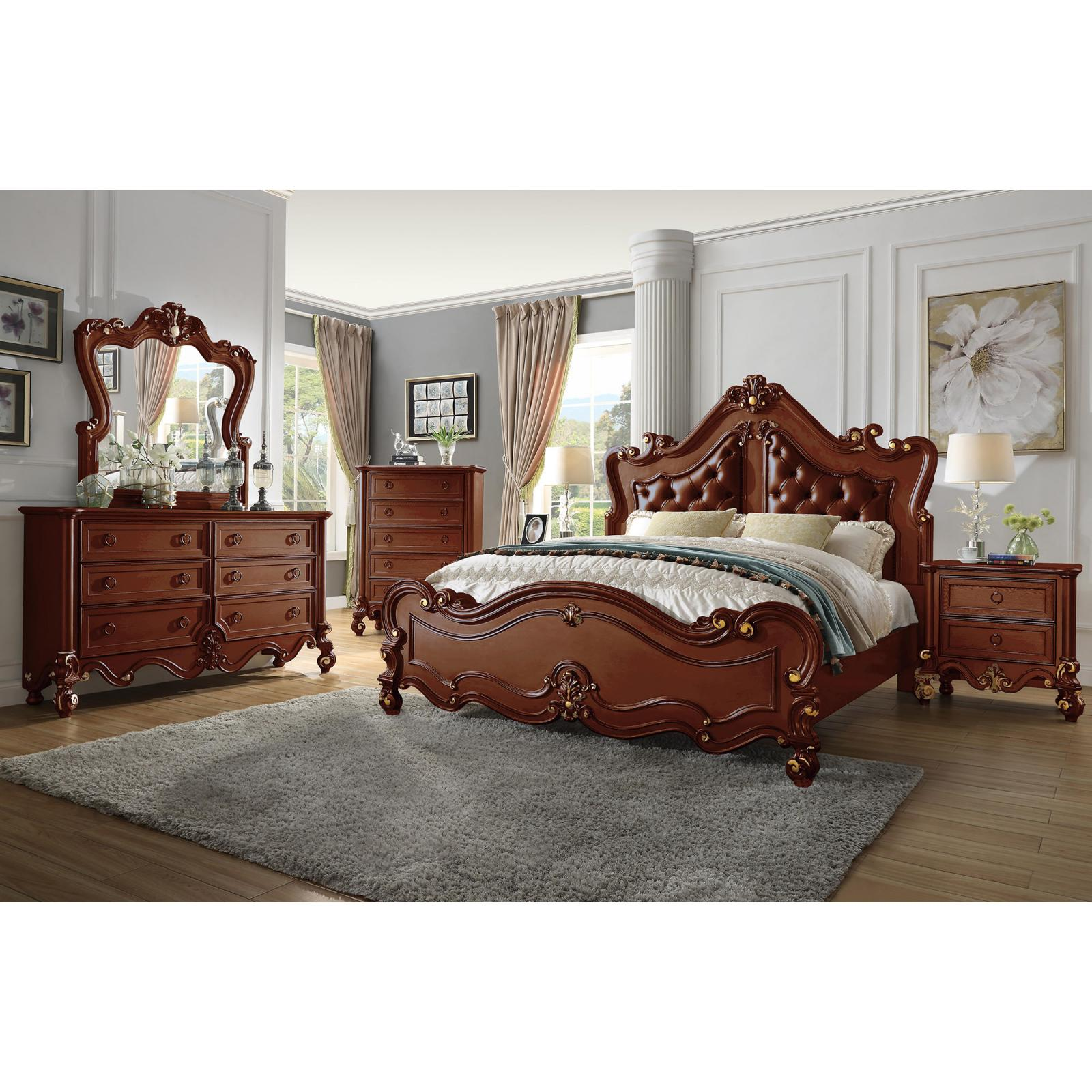 Traditional Gold, Cherry Leather and Wood Panel Bedroom Set 4 pcs HD-999 CHERRY  by Homey Design