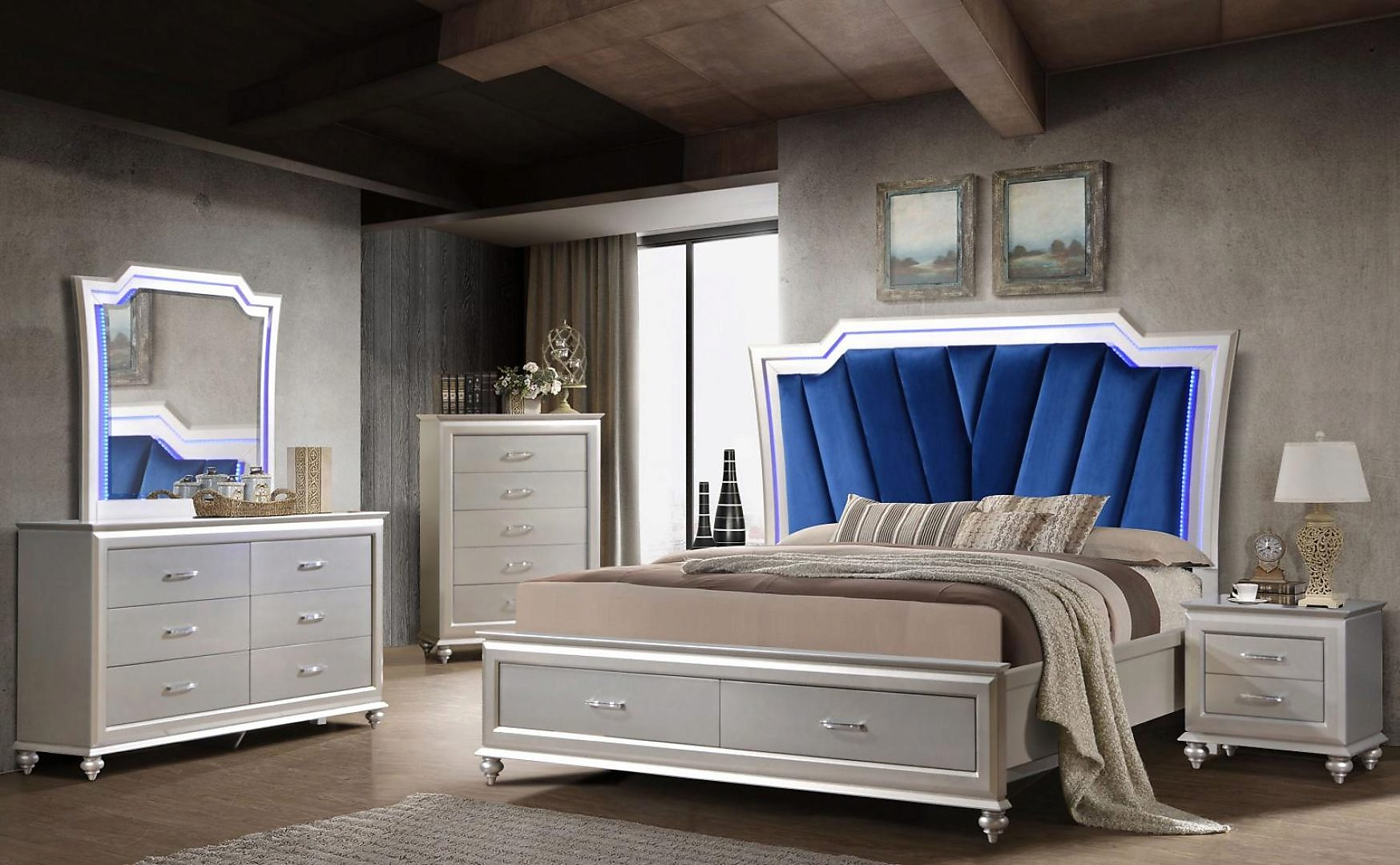 Modern Blue, Silver Velour and Wood Queen Panel Bedroom Set 6 pcs Alia by Cosmos Furniture