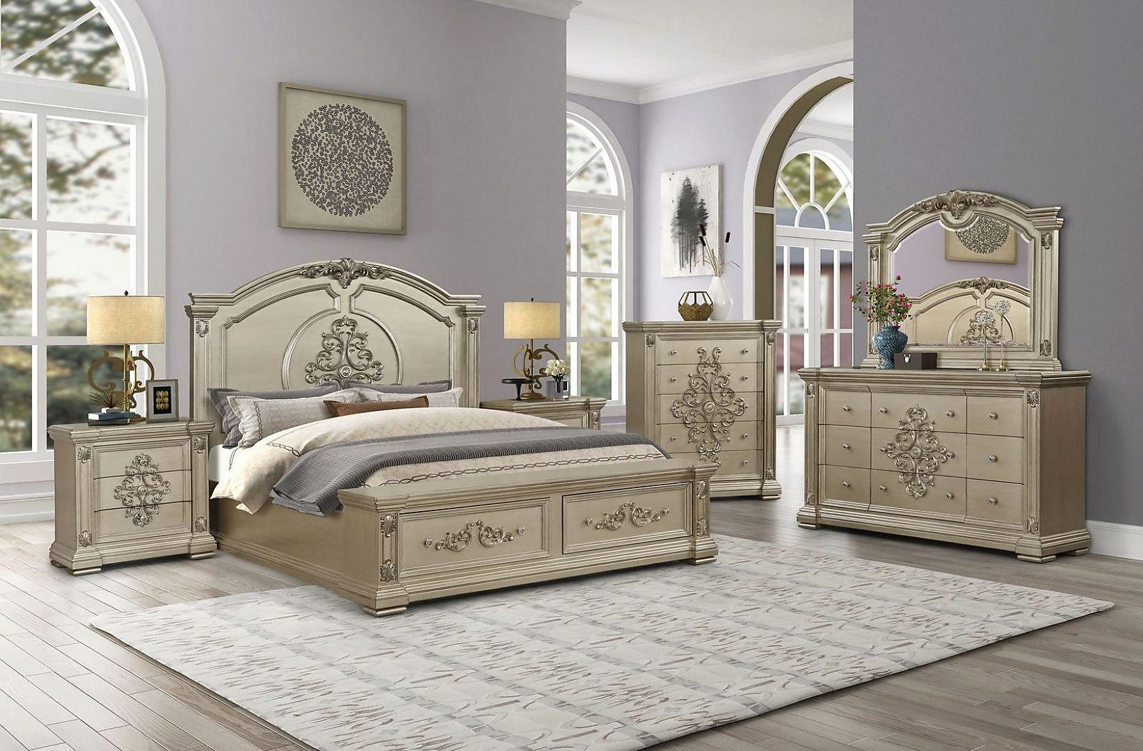 Transitional Beige  and Wood King Panel Bedroom Set 6 pcs Alicia by Cosmos Furniture