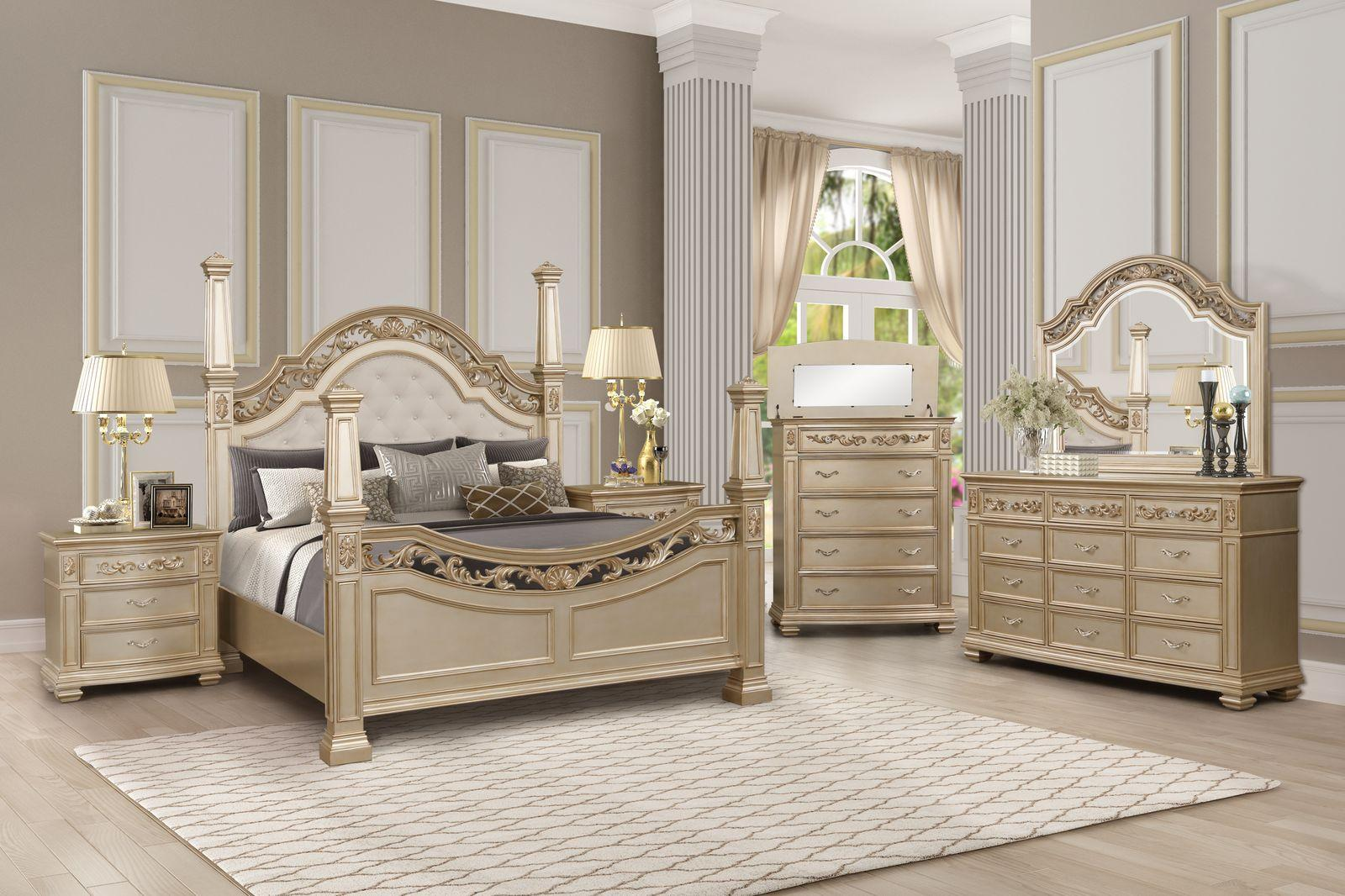 Traditional Gold  and Wood Queen Poster Bedroom Set 6 pcs Valentina by Cosmos Furniture
