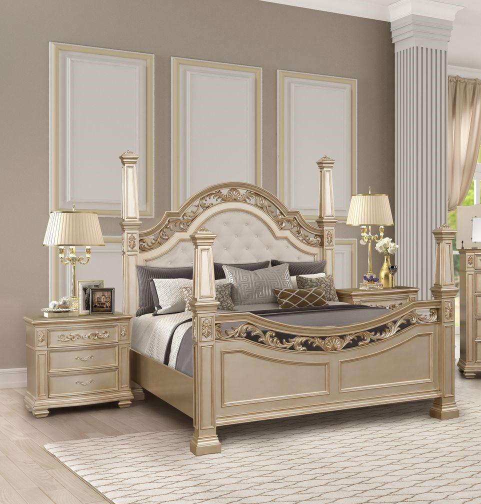 Traditional Gold  and Wood King Poster Bedroom Set 3 pcs Valentina by Cosmos Furniture