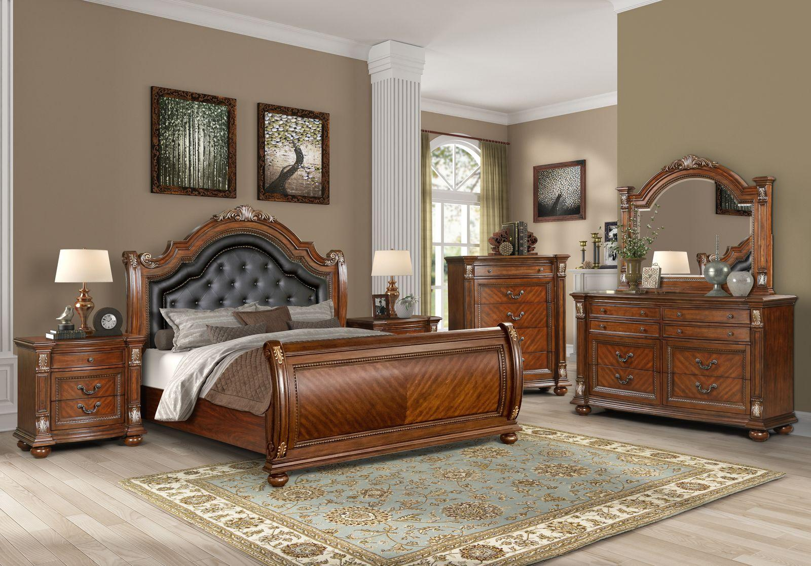 Traditional Caramel  and Wood King Sleigh Bedroom Set 6 pcs Viviana by Cosmos Furniture