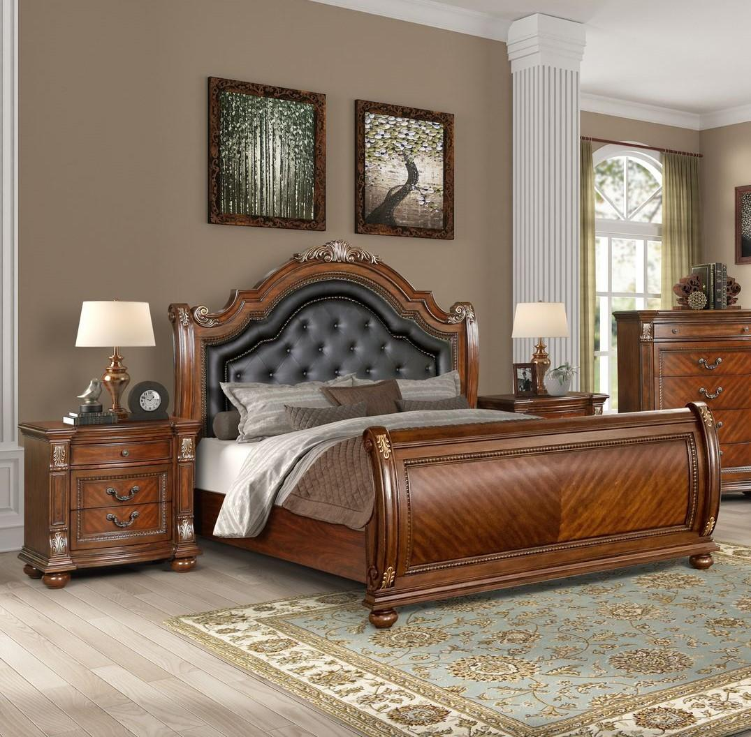 Traditional Caramel  and Wood Sleigh Queen Bedroom Set 3 pcs Viviana by Cosmos Furniture