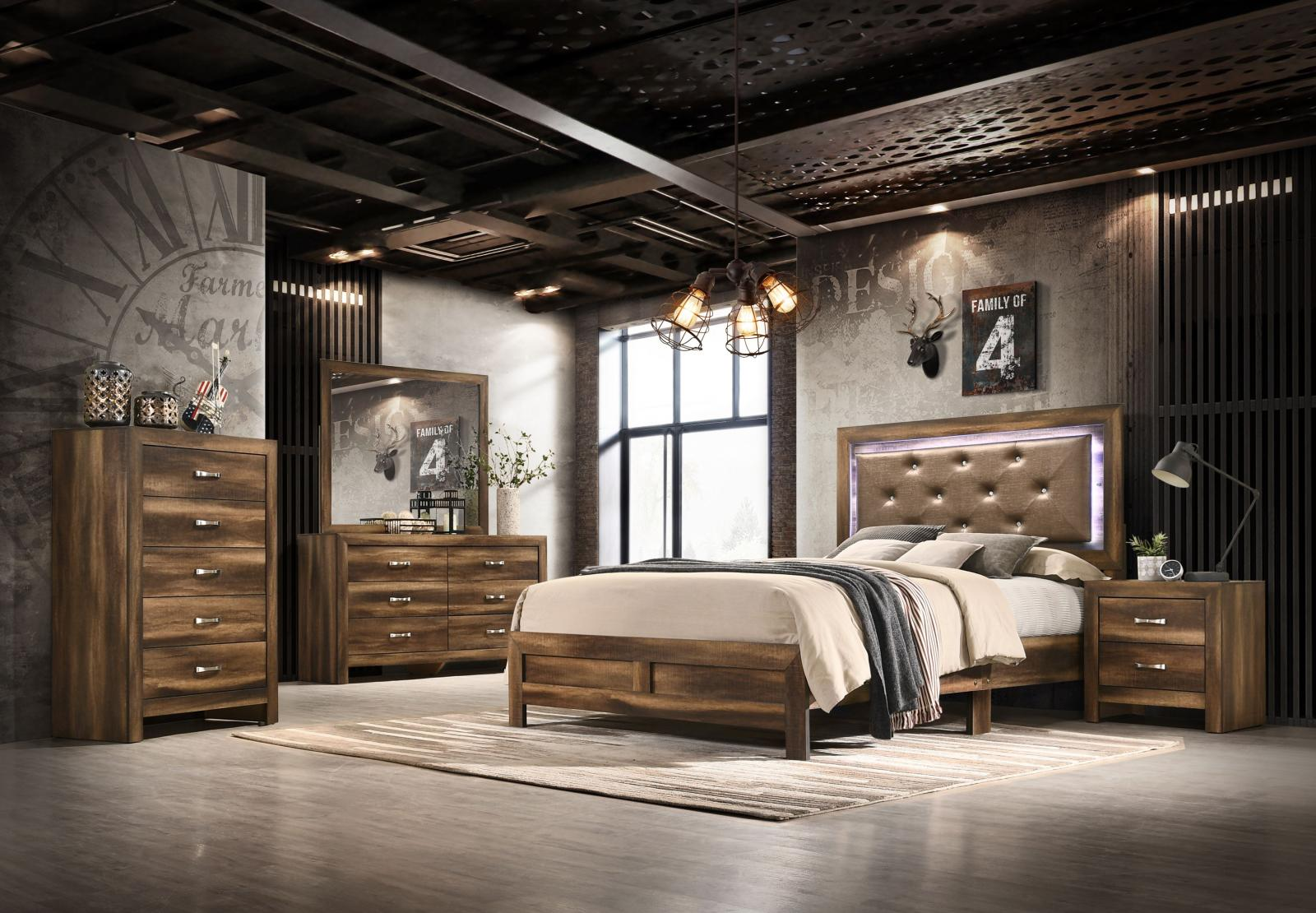 Modern Espresso  and Wood Queen Platform Bedroom Set 5 pcs YasmineBrown by Cosmos Furniture