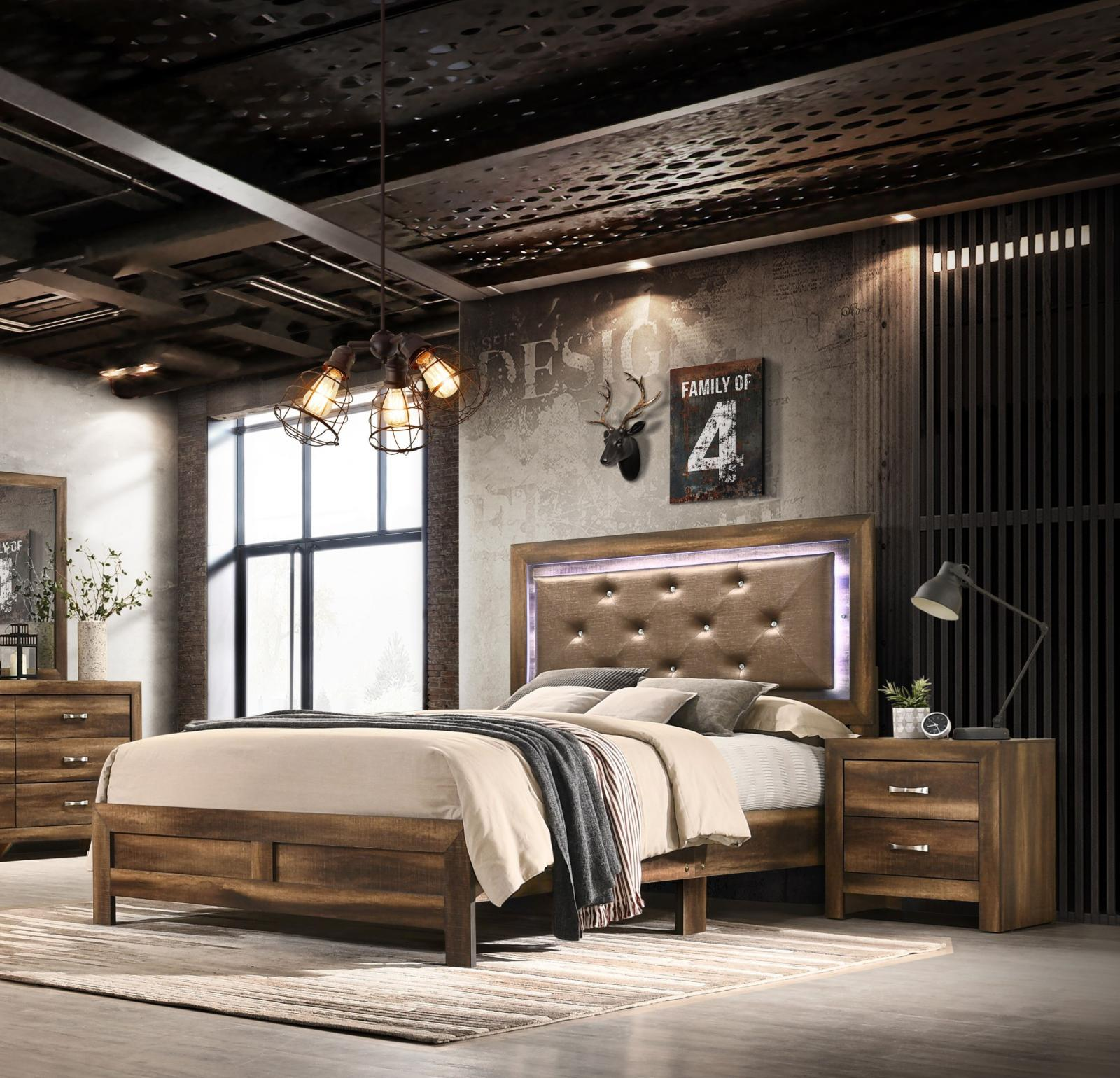 Modern Espresso  and Wood Queen Platform Bedroom Set 3 pcs YasmineBrown by Cosmos Furniture