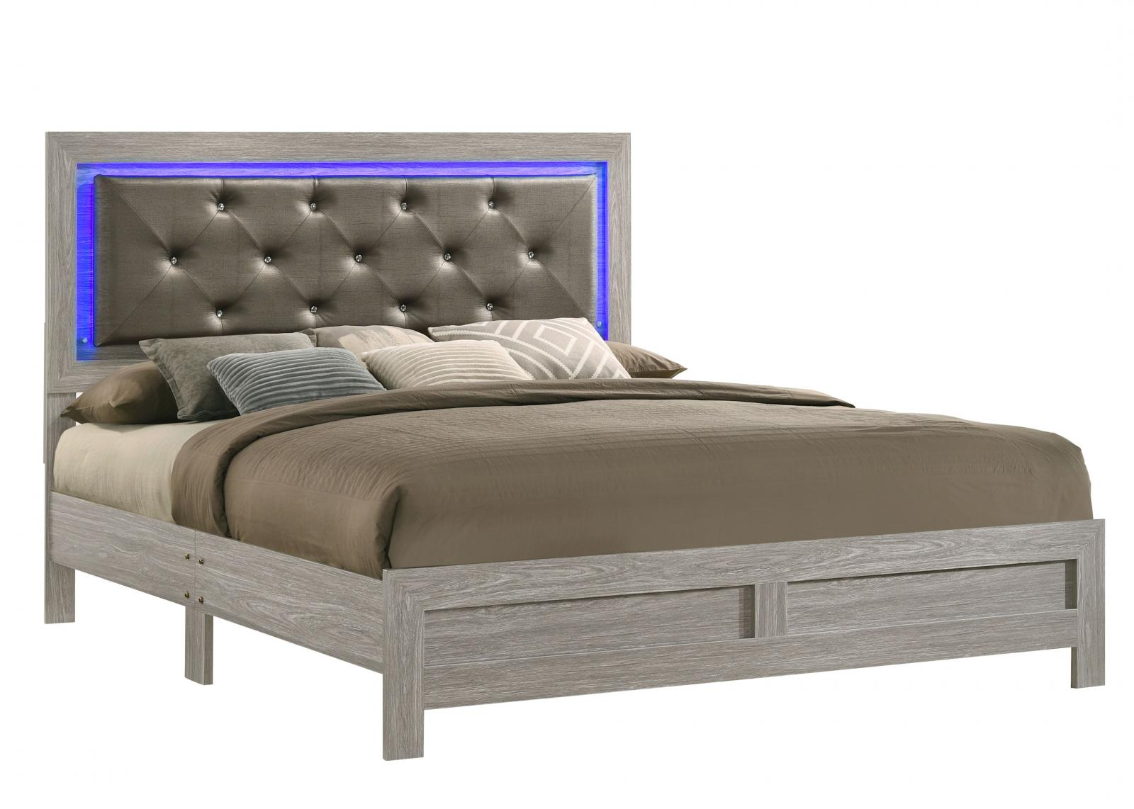 Modern Gray, White  and Wood Queen Platform Bed YasmineWhite by Cosmos Furniture