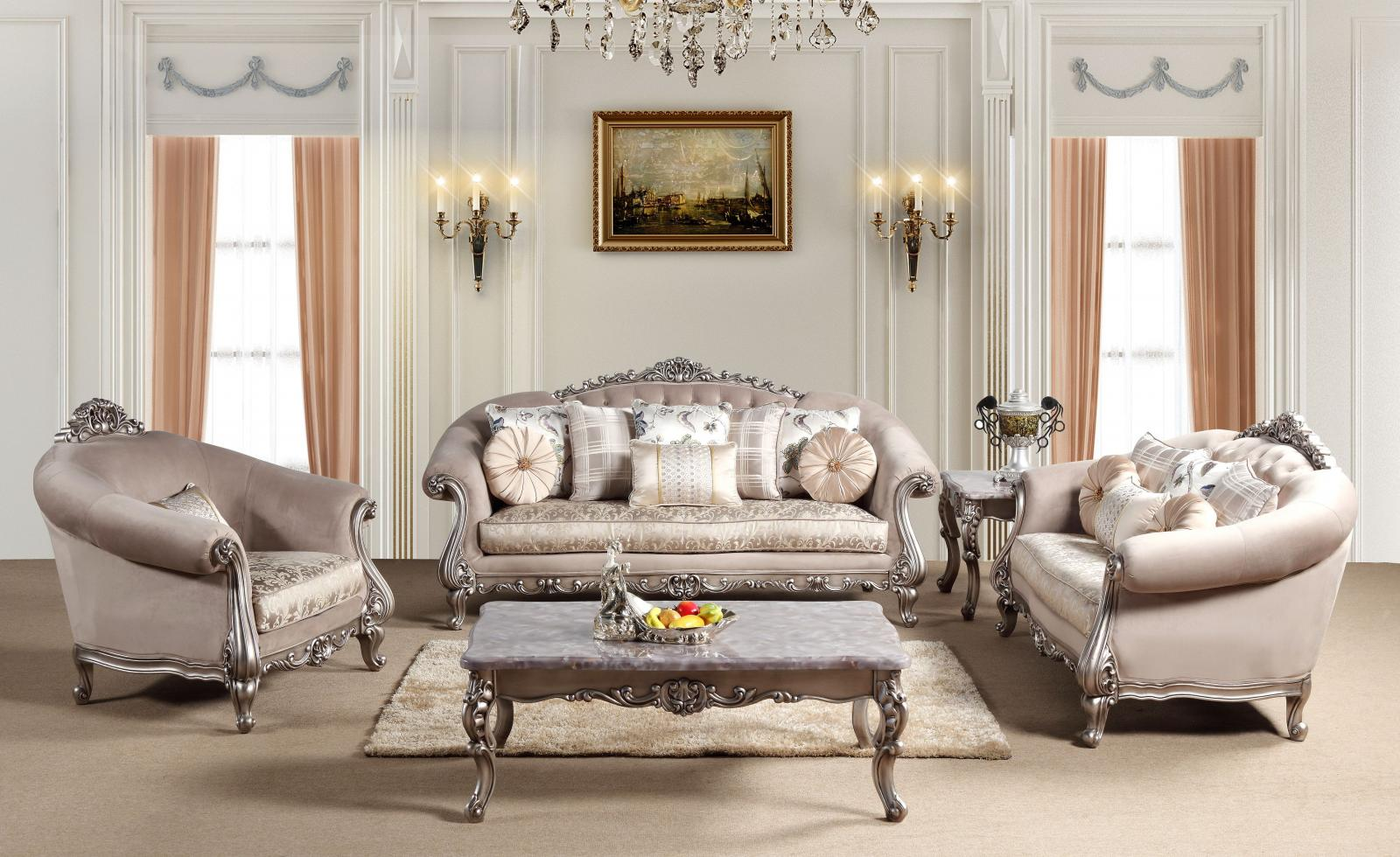 Traditional Beige, Silver Fabric and Fabric, Wood Sofa Loveseat and Chair Set 3 pcs Cristina by Cosmos Furniture