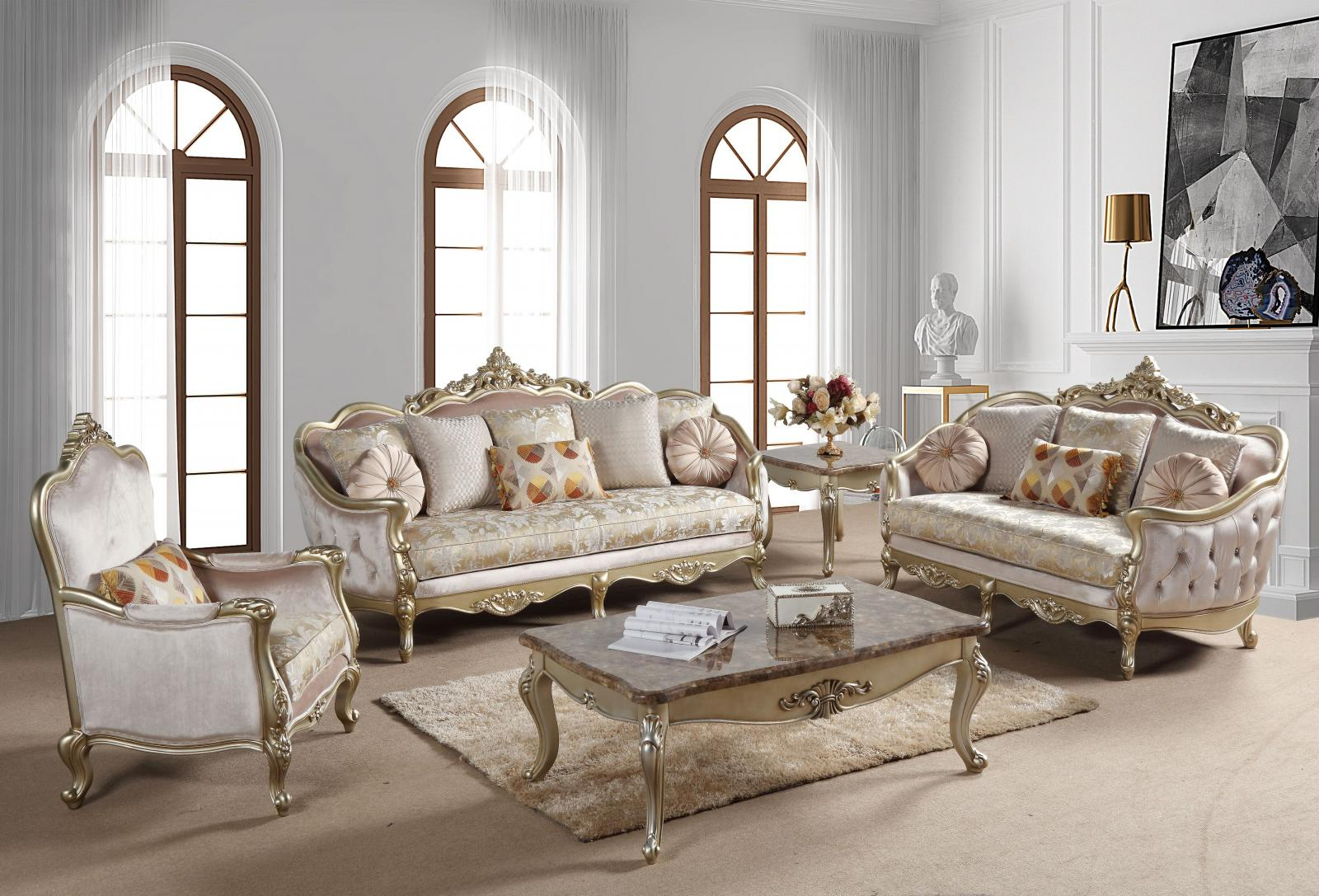 Traditional Champagne Fabric and Fabric, Wood Sofa Loveseat and Chair Set 3 pcs Diana by Cosmos Furniture
