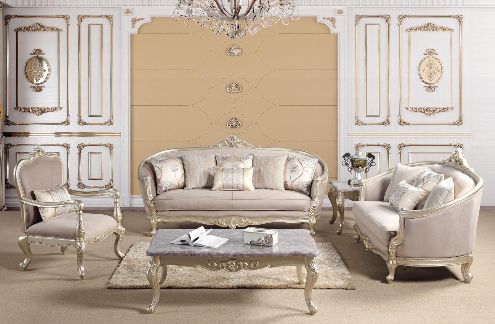 Traditional Champagne Fabric and Fabric, Wood Sofa Loveseat and Chair Set 3 pcs Elanor by Cosmos Furniture