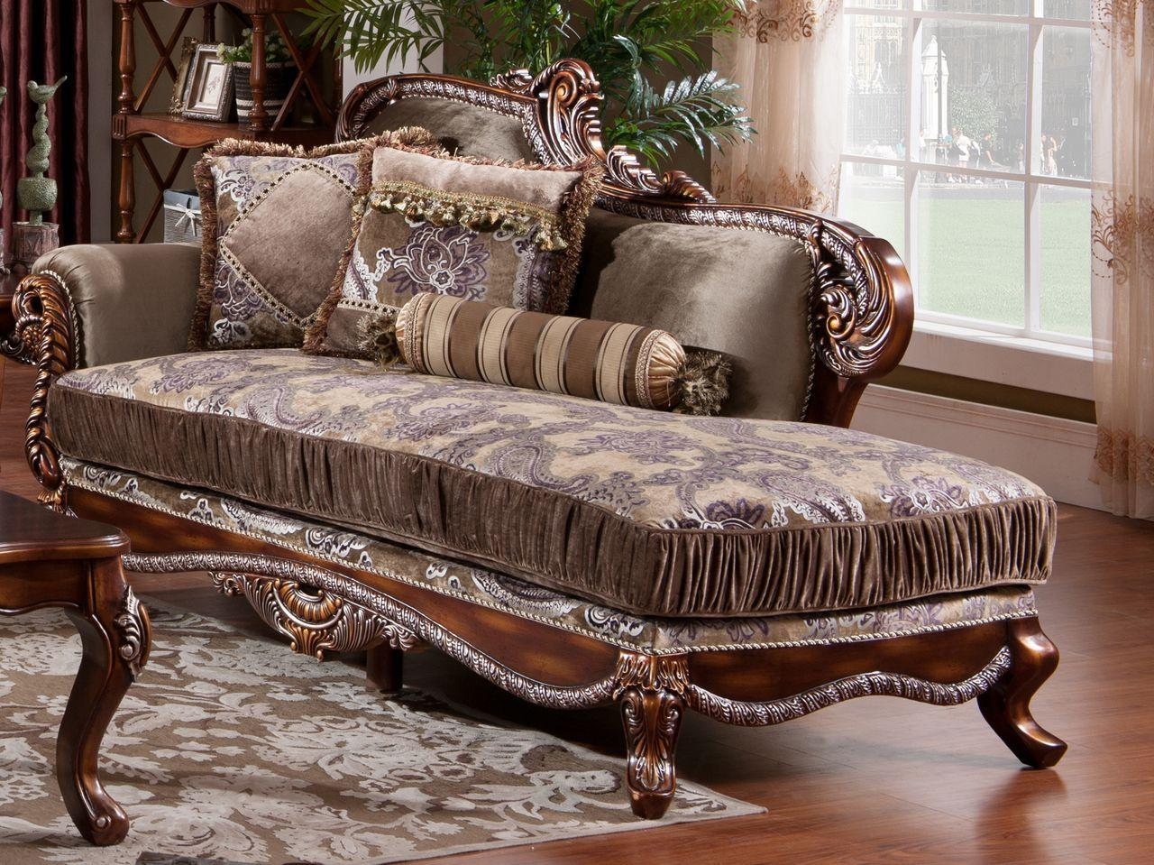 Traditional Cherry Fabric and Fabric, Wood Chaise 1 pcs Janet by Cosmos Furniture
