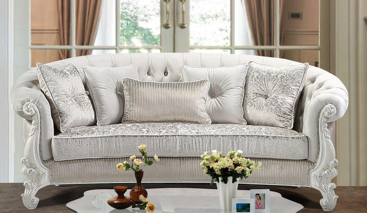 Traditional Pearl White Fabric and Fabric, Wood Sofa 1 pcs Juliana by Cosmos Furniture
