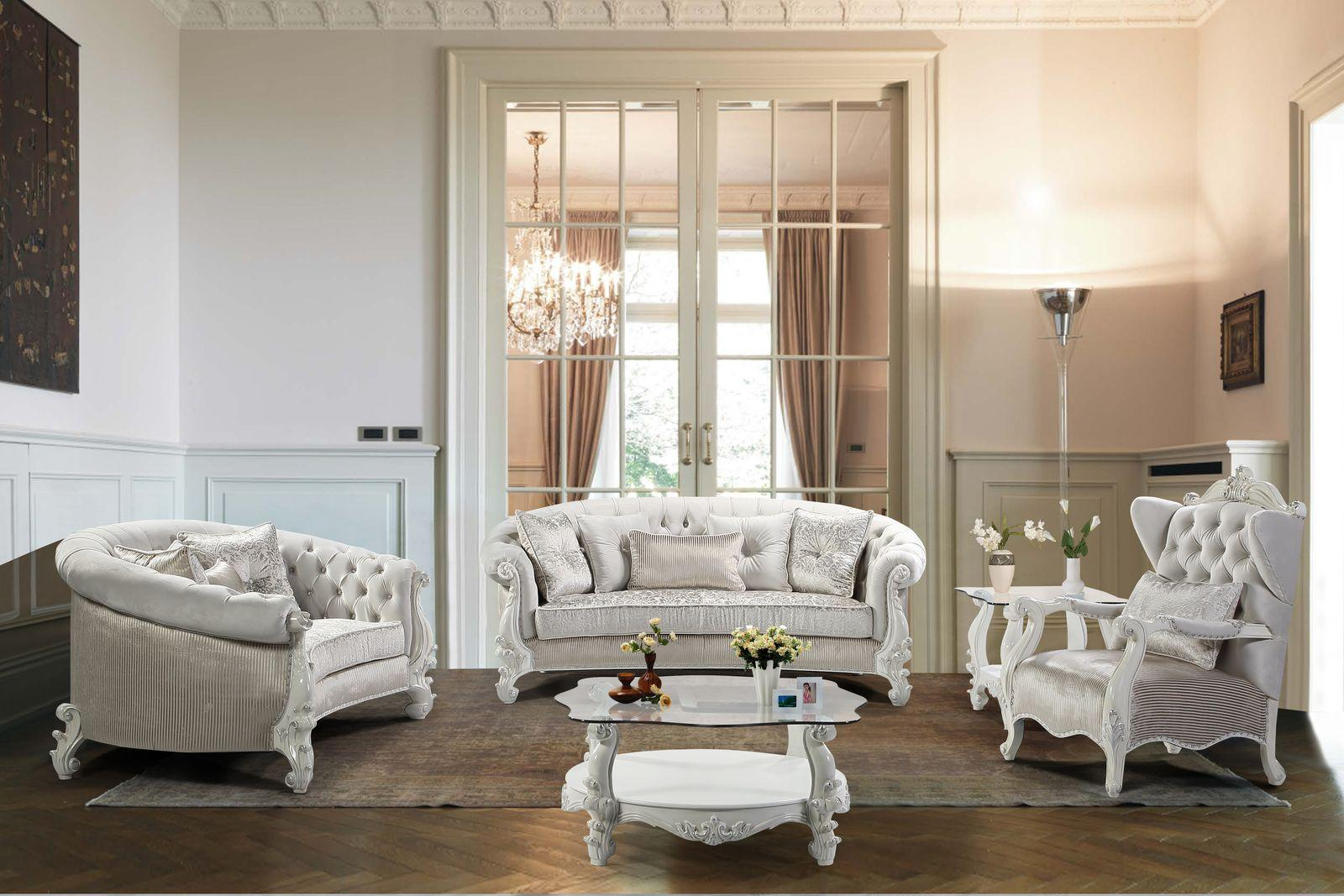 Traditional Pearl White Fabric and Fabric, Wood Sofa Set 5 pcs Juliana by Cosmos Furniture