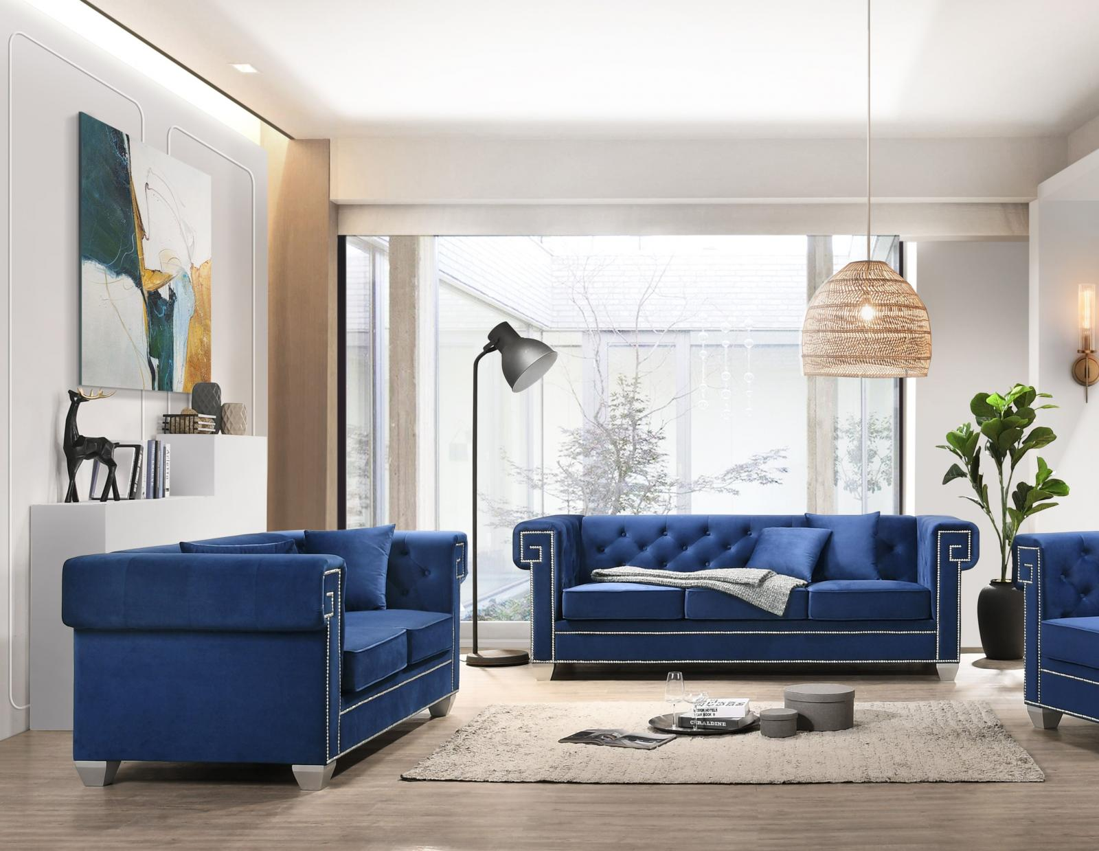 Modern Blue Velvet and Fabric, Stainless Steel Sofa and Loveseat Set 2 pcs Clover Blue by Cosmos Furniture