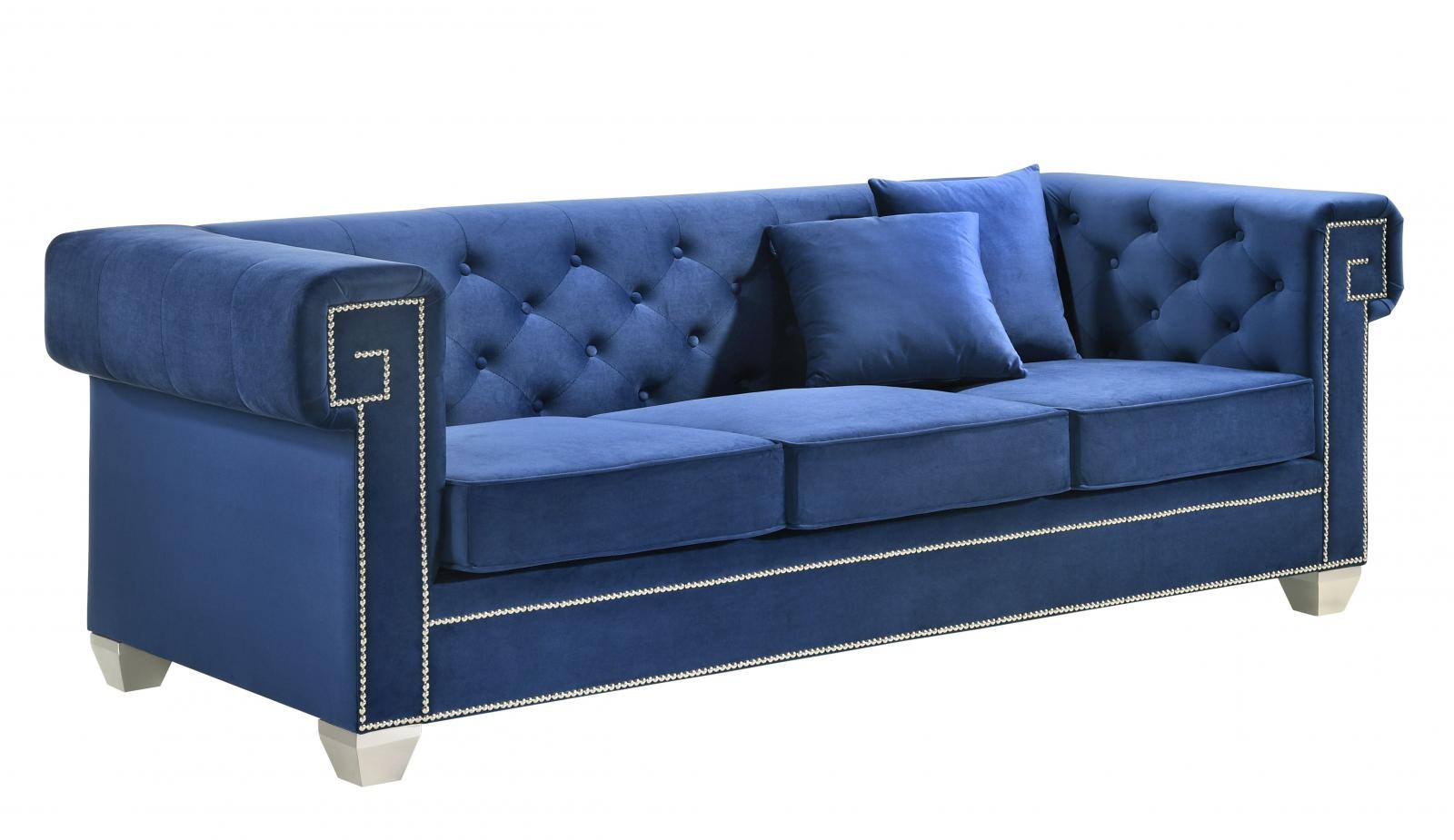 Modern Blue Velvet and Fabric, Stainless Steel Sofa 1 pcs Clover Blue by Cosmos Furniture