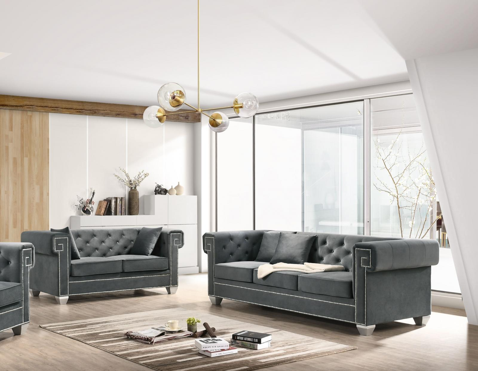 Modern Gray Velvet and Fabric, Stainless Steel Sofa and Loveseat Set 2 pcs Clover Gray by Cosmos Furniture