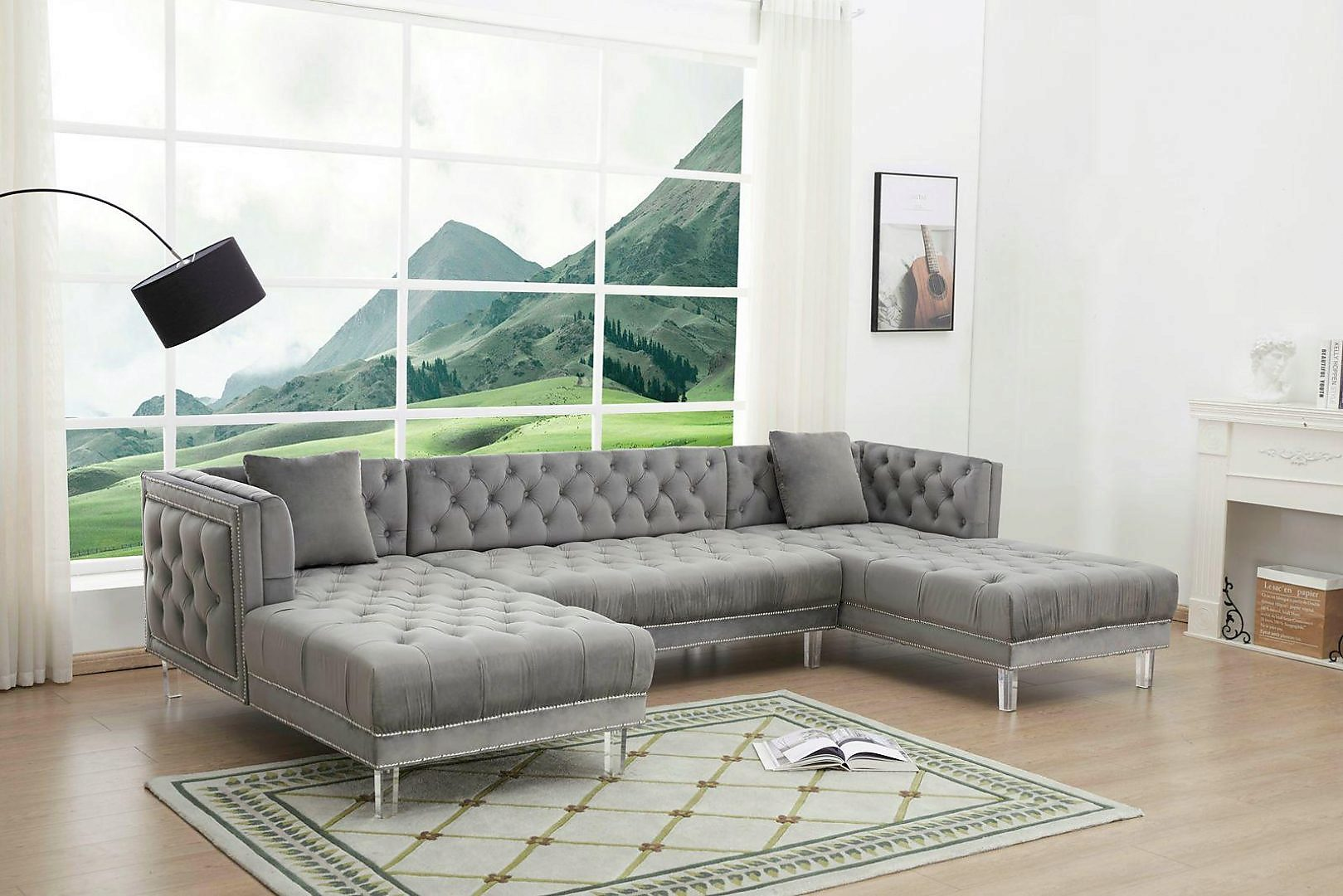 Modern Gray Velvet and Fabric, Wood, acrylic, Solid Hardwood Sectional Sofa 1 pcs Marco by Cosmos Furniture