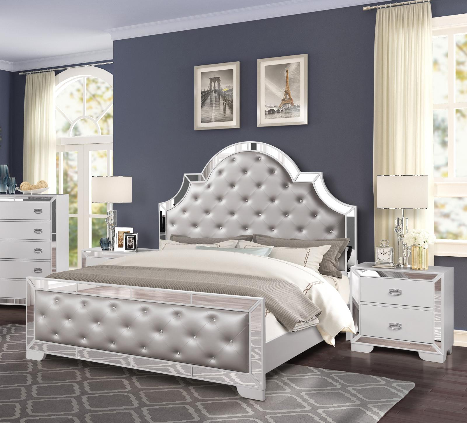 Contemporary White Faux Leather and Wood, Faux Leather King Panel Bedroom Set 3 pcs Grand Gloria by Cosmos Furniture