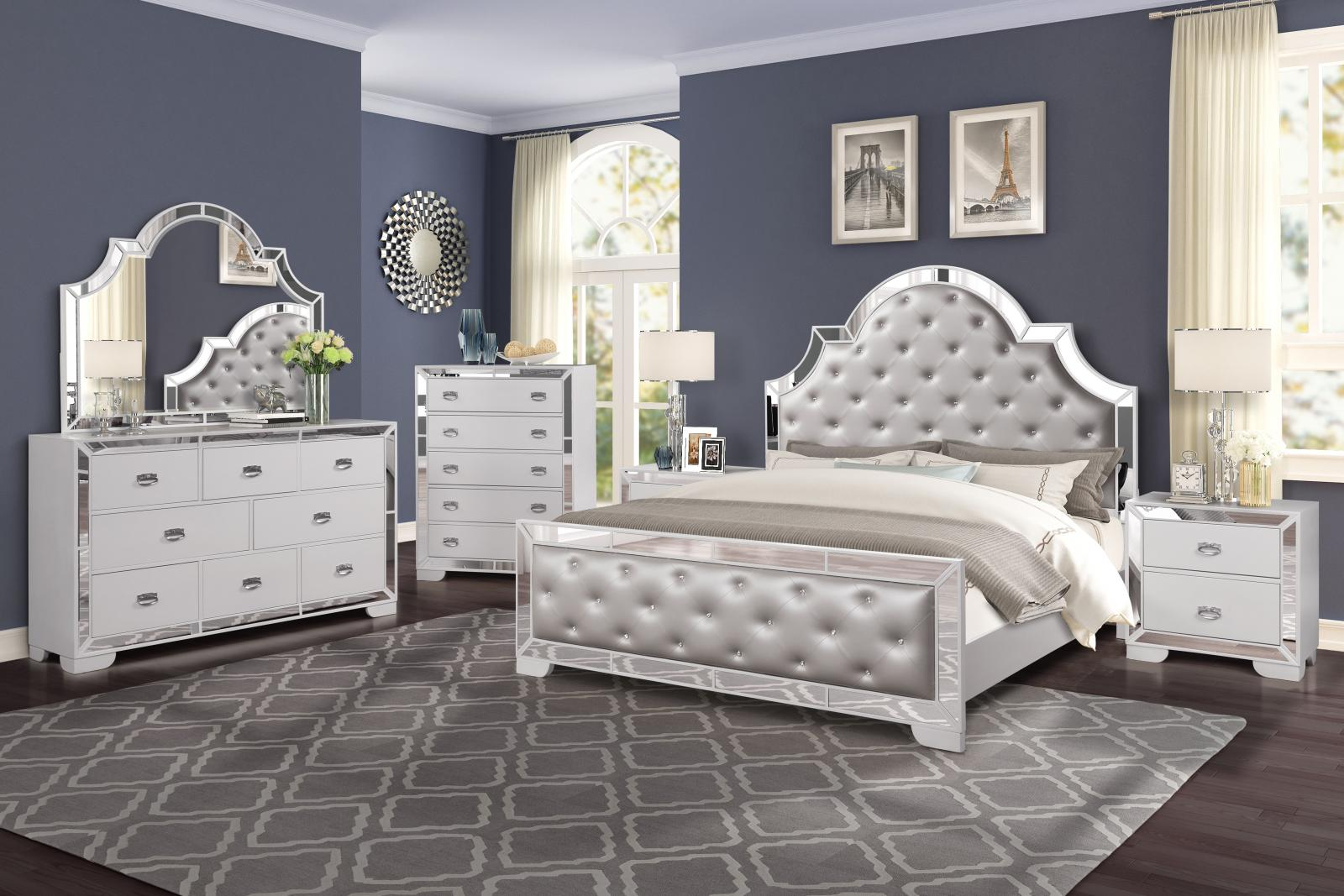 Contemporary White Faux Leather and Wood, Faux Leather Panel Bedroom Set 3 pcs Grand Gloria by Cosmos Furniture
