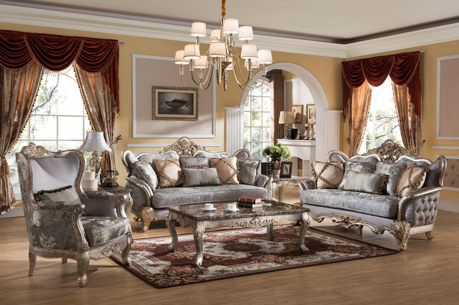 Traditional Metallic Fabric and Fabric, Wood Sofa Loveseat and Chair Set 3 pcs Oprah by Cosmos Furniture