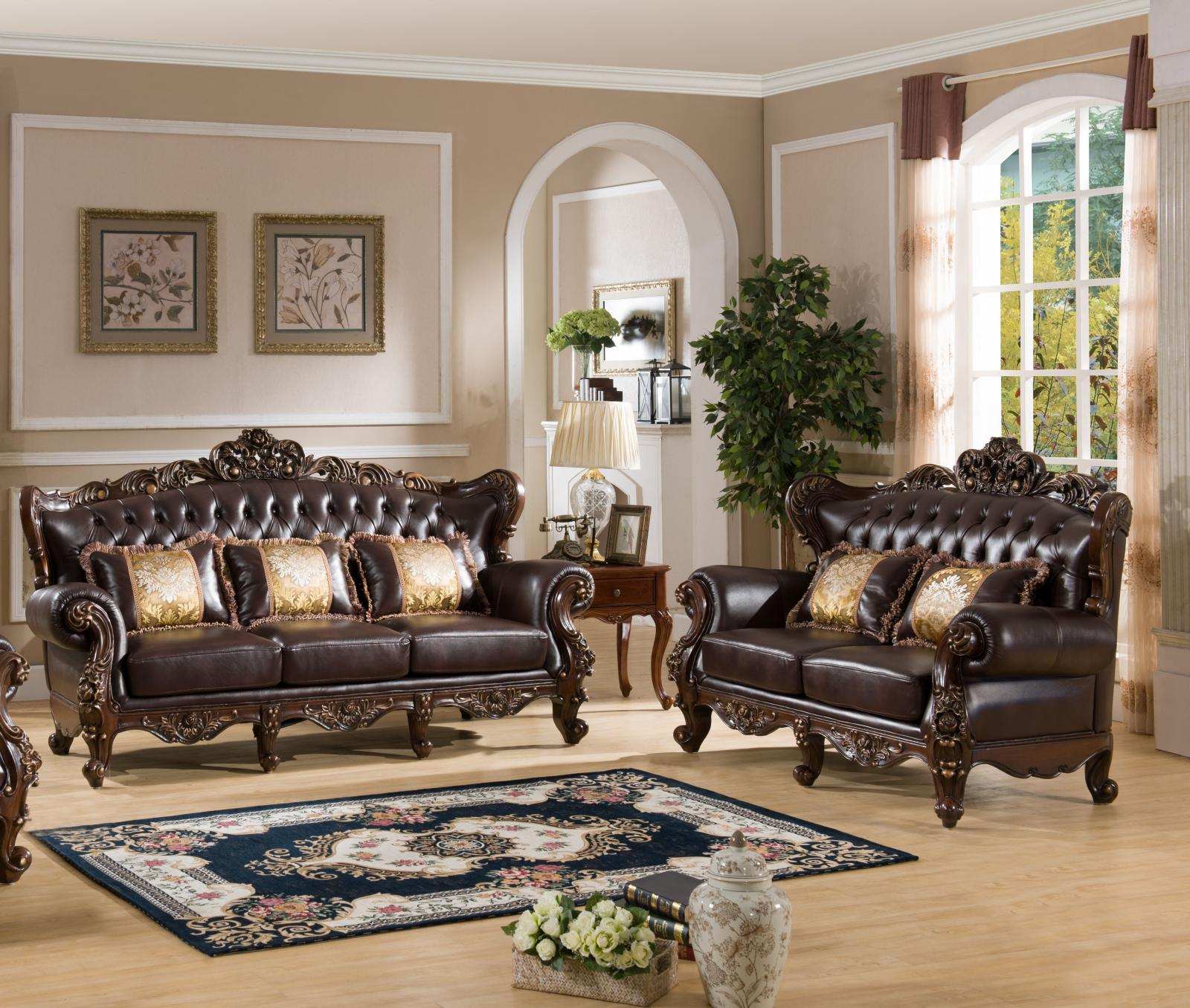 Traditional Cherry Fabric and Fabric, Wood Sofa and Loveseat Set 2 pcs Vanessa by Cosmos Furniture
