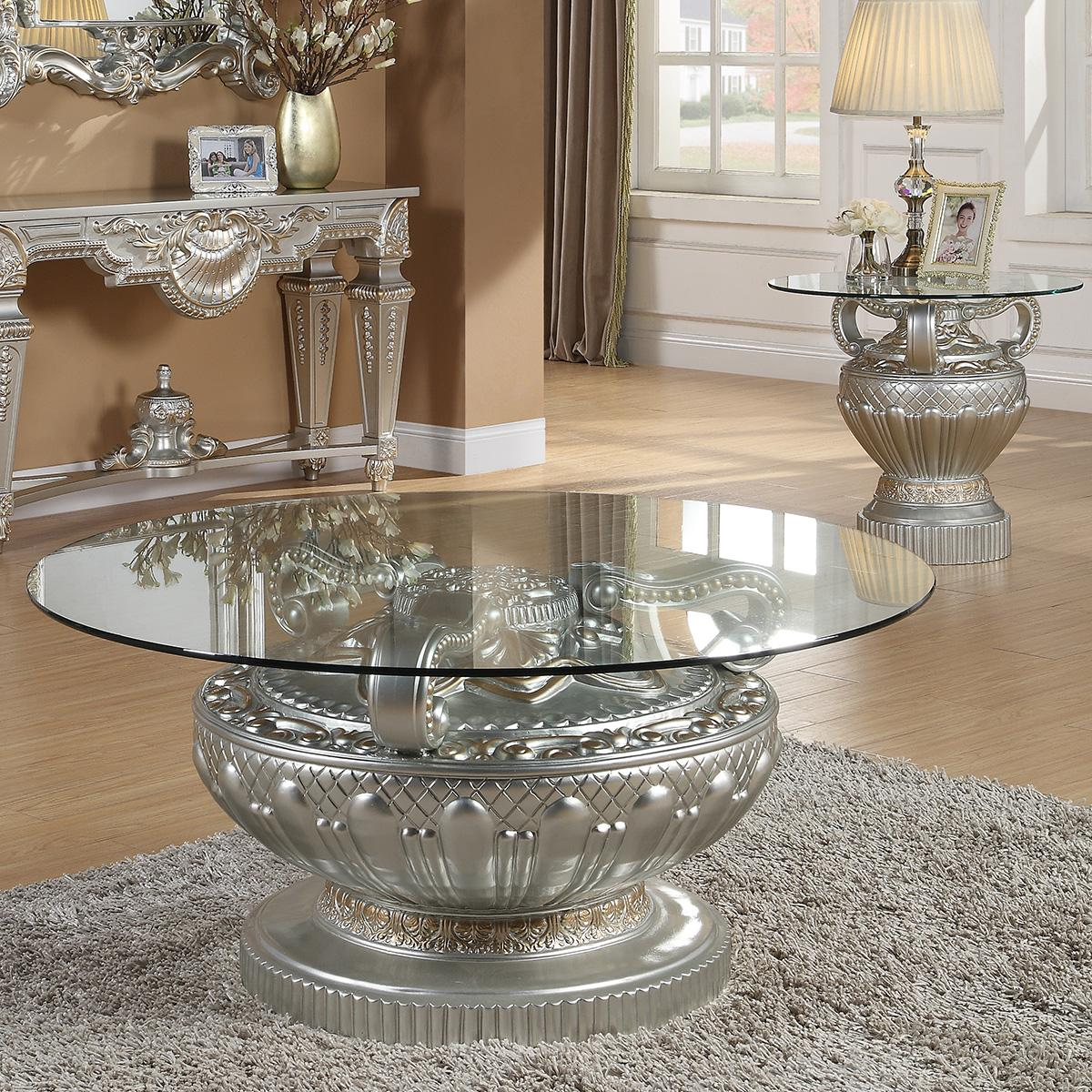 Traditional Silver  and Glass, Wood Coffee Table Set 3 pcs HD-8908S by Homey Design