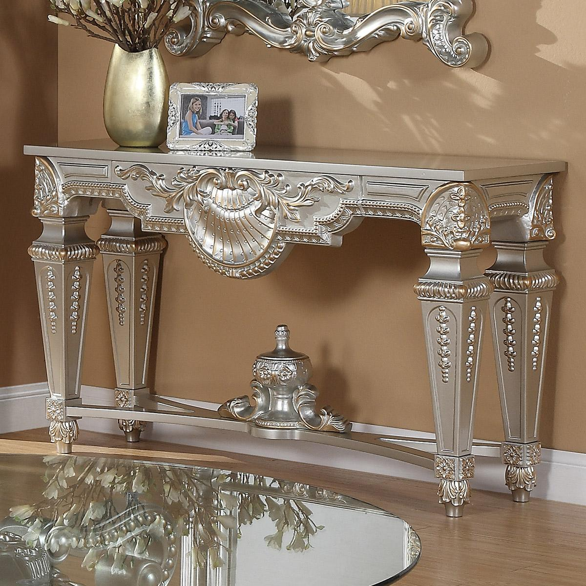 Traditional Silver  and Glass, Wood Console Table 1 pcs HD-CON89HD-8908S by Homey Design