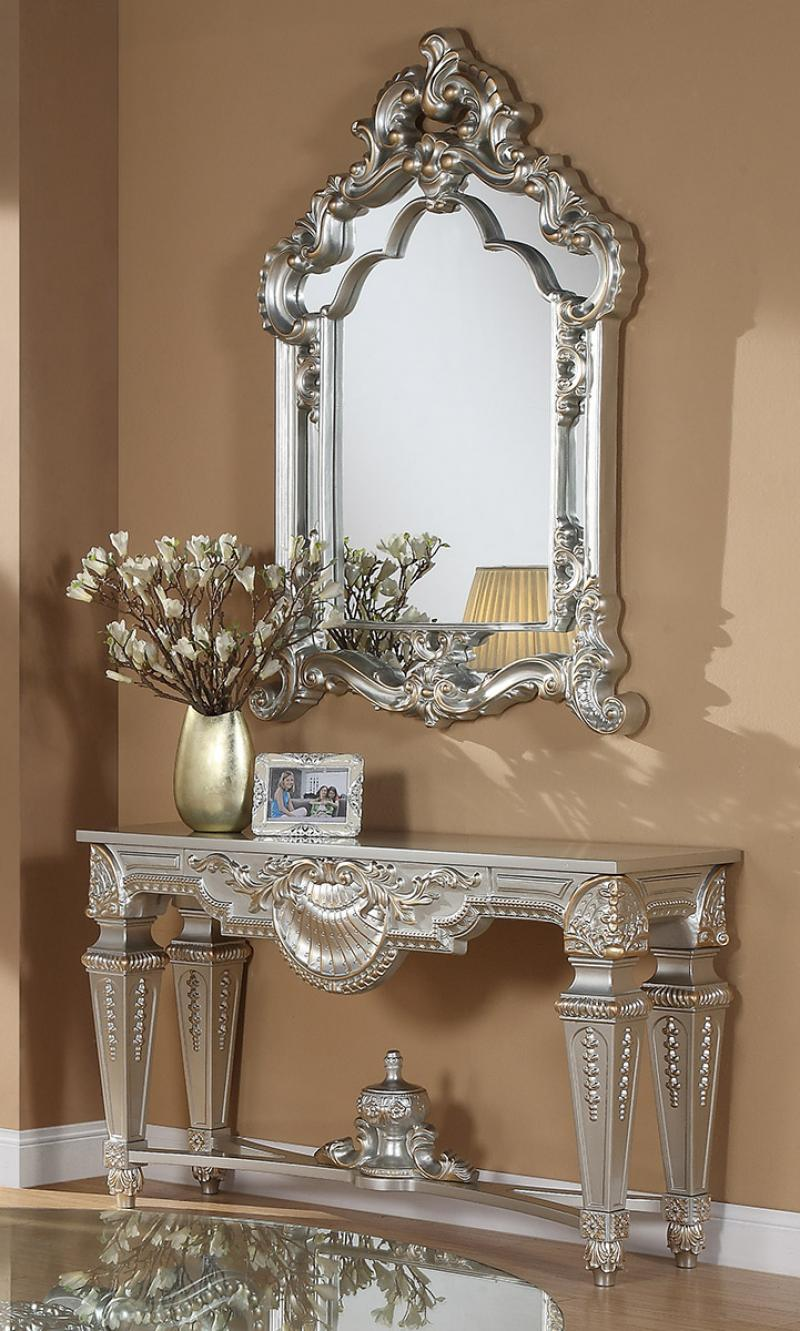 Traditional Silver  and Glass, Wood Console Table 2 pcs HD-CON89HD-8908S by Homey Design
