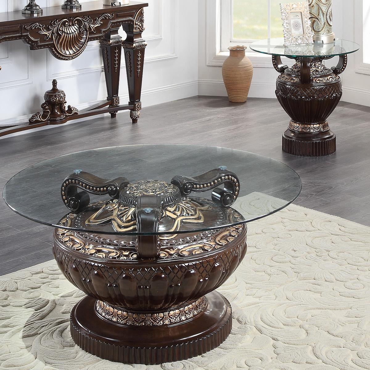 Traditional Cherry  and Glass, Wood Coffee Table Set 3 pcs HD-8908C by Homey Design