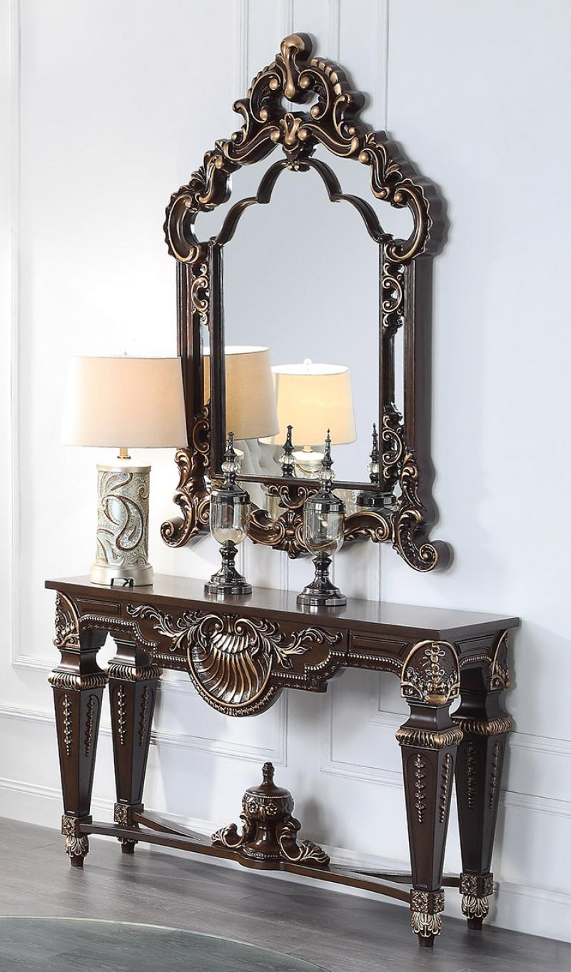 Traditional Cherry  and Glass, Wood Console Table 2 pcs HD-8908C by Homey Design