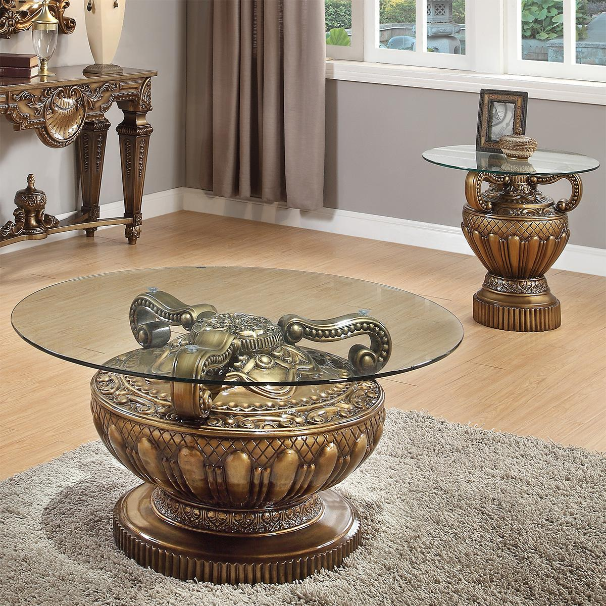 Traditional Bronze  and Glass, Wood Coffee Table Set 3 pcs HD-8908B  by Homey Design