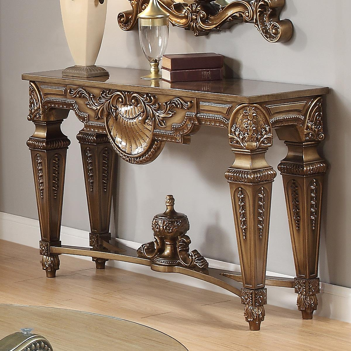 Traditional Bronze  and Glass, Wood Console Table 1 pcs HD-8908B  by Homey Design
