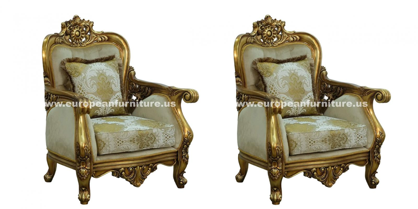Classic, Traditional Beige, Bronze, Antique Fabric and Wood, Solid Hardwood Arm Chair Set 2 pcs BELLAGIO 3016 by European Furniture